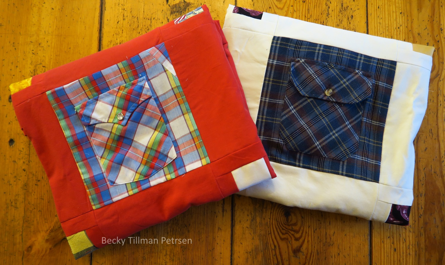 """You can see on the upper right corner of the left shirt's pocket where I had to add a section of fabric in order to make it a full 8.5"""" wide. I didn't even try to match the plaids as I was working with leftovers and didn't have enough fabric to do that. So, I just """"gloried in the diversity"""" and sewed a piece on - not worrying about matching plaids or even directions of the print. I had to do it several times on several pockets for these two tops."""