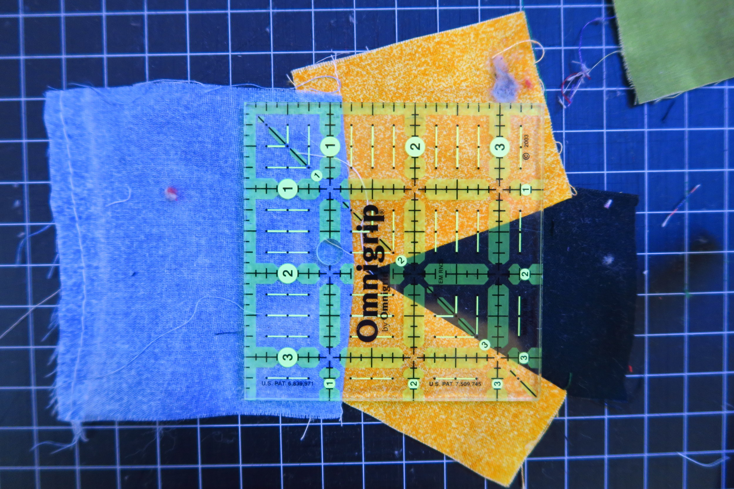 """I have to admit - having this little 3.5"""" square ruler is handy when cutting these!"""