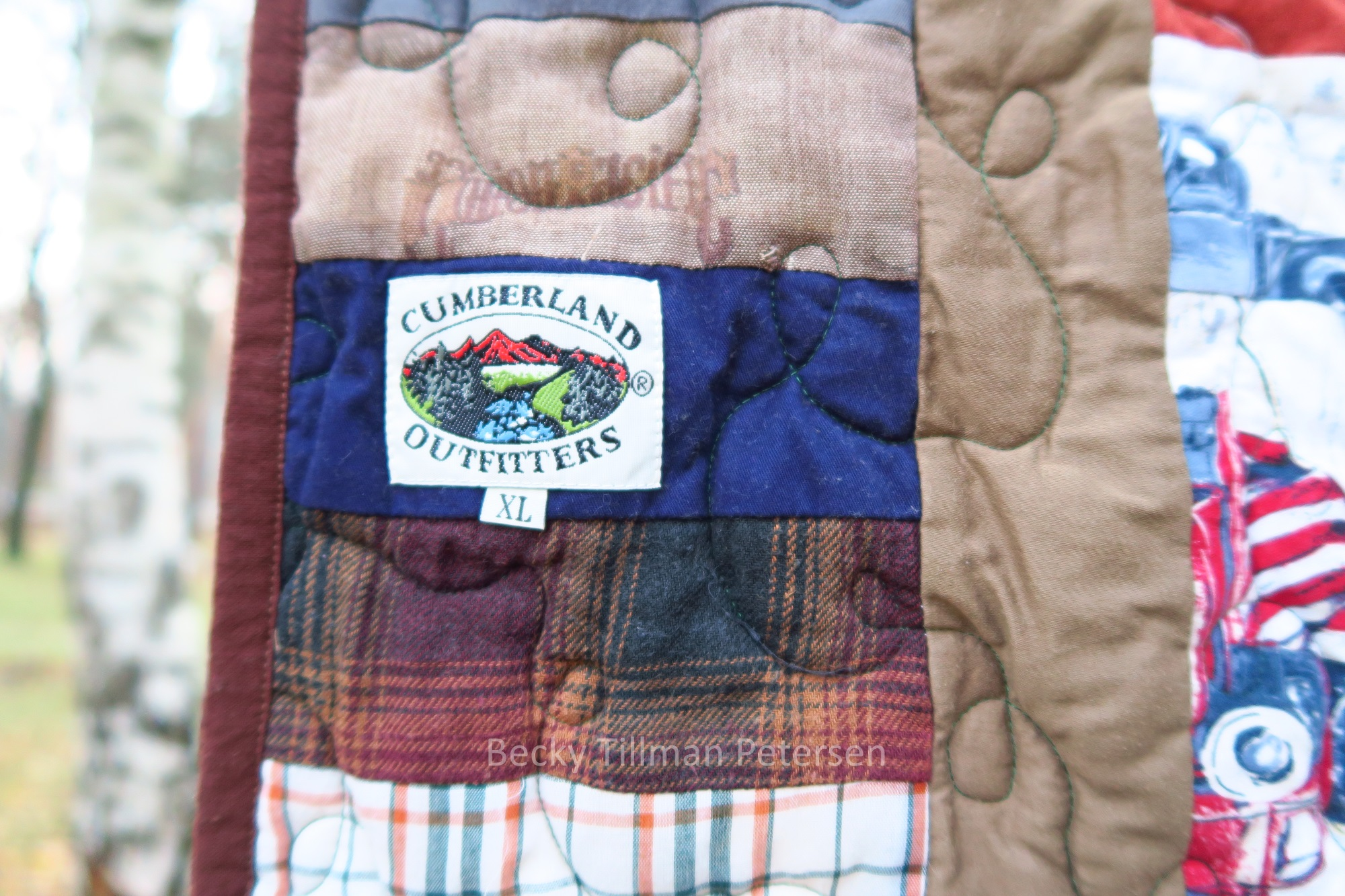 Using the labels can add a fun point of interest on quilt.