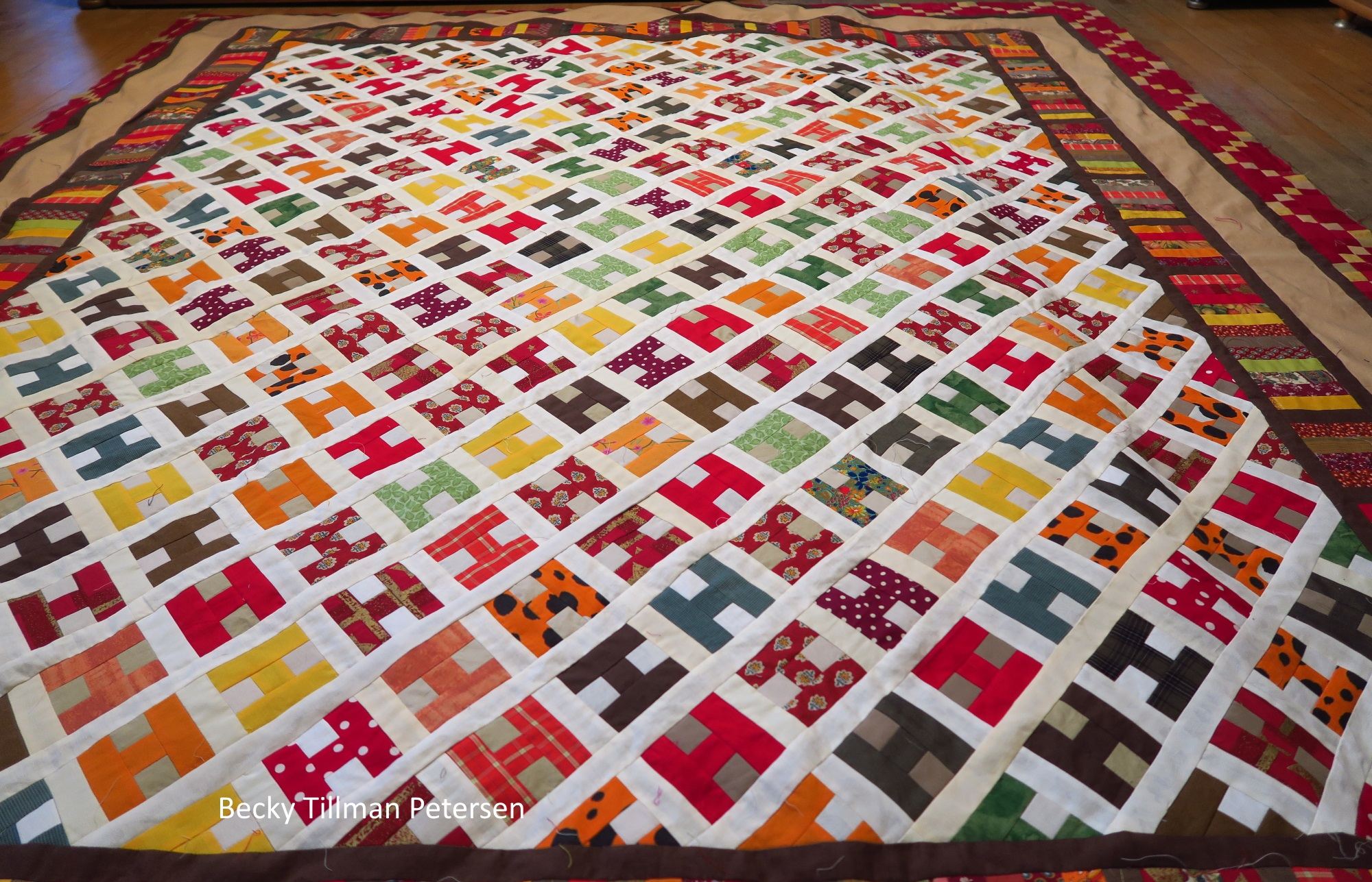 """Here you can see that I used various shades of the background as in the """"Diffusion"""" quilt - in the """"H"""" blocks. But it still worked. The darker ones made it a little harder to see the design, but I think it worked out okay."""