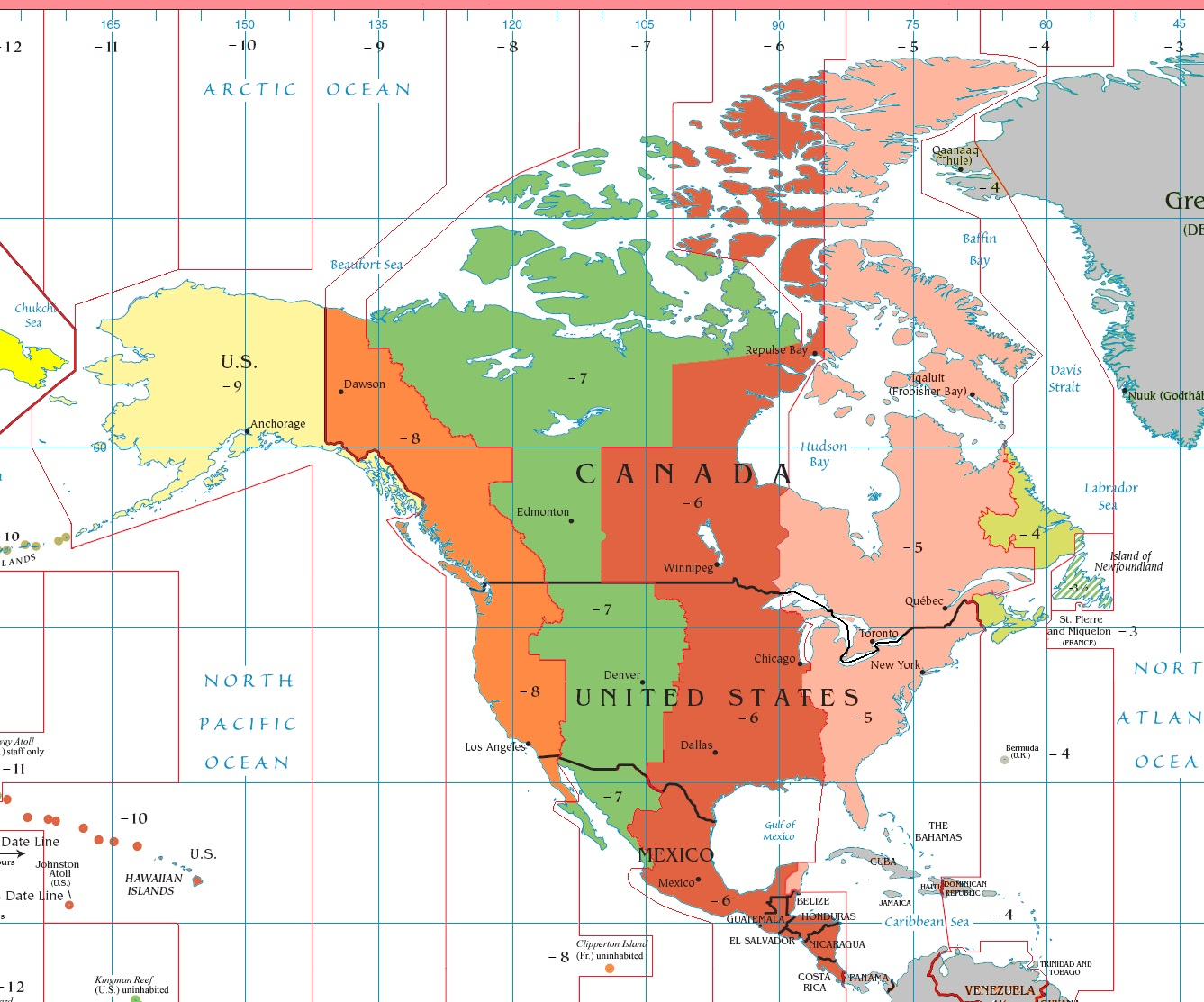 This time zone map of North America/Central America is courtesy of Wikipedia. Thanks Wikipedia!
