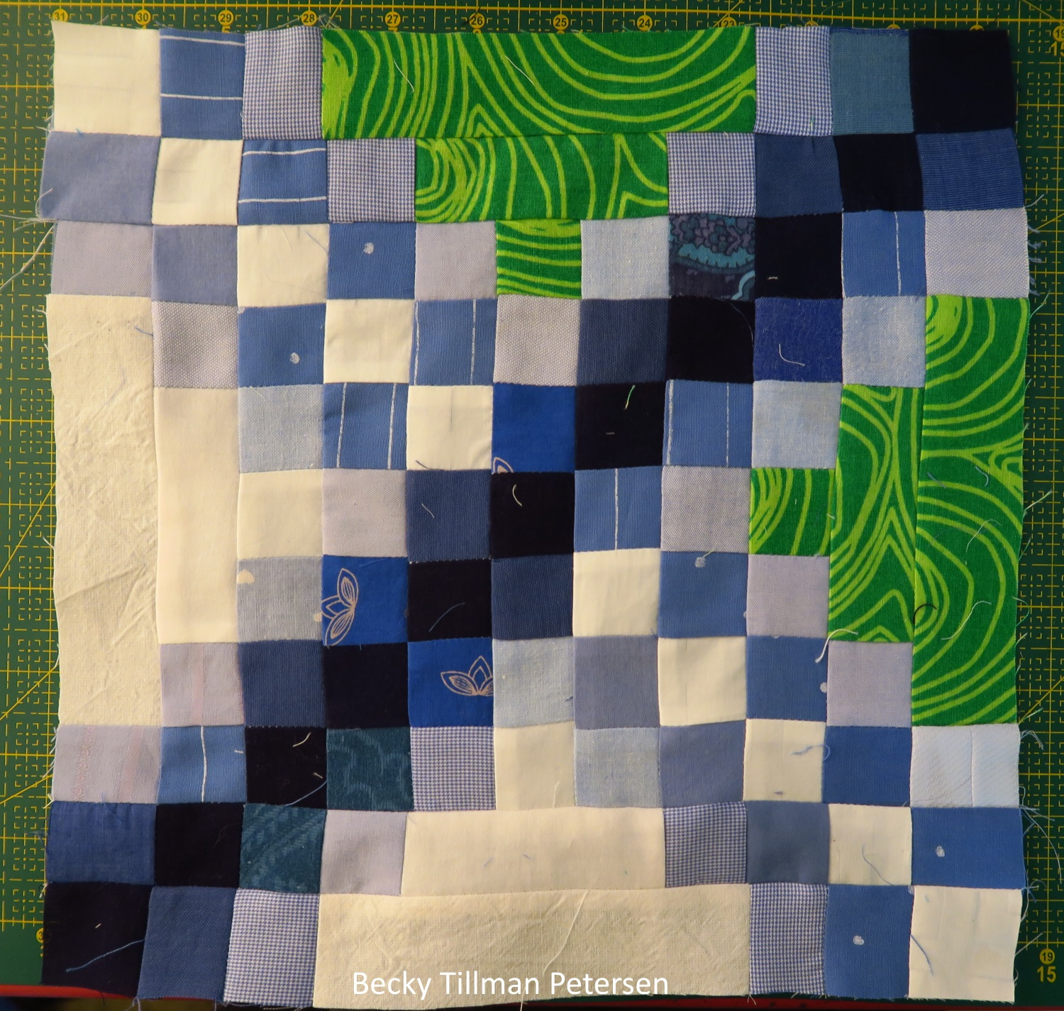 My block. The whole center of the quilt is made up of only one block! Easy! Really! Not quick, though! And you do have to keep your thinking cap on as you work on this one.
