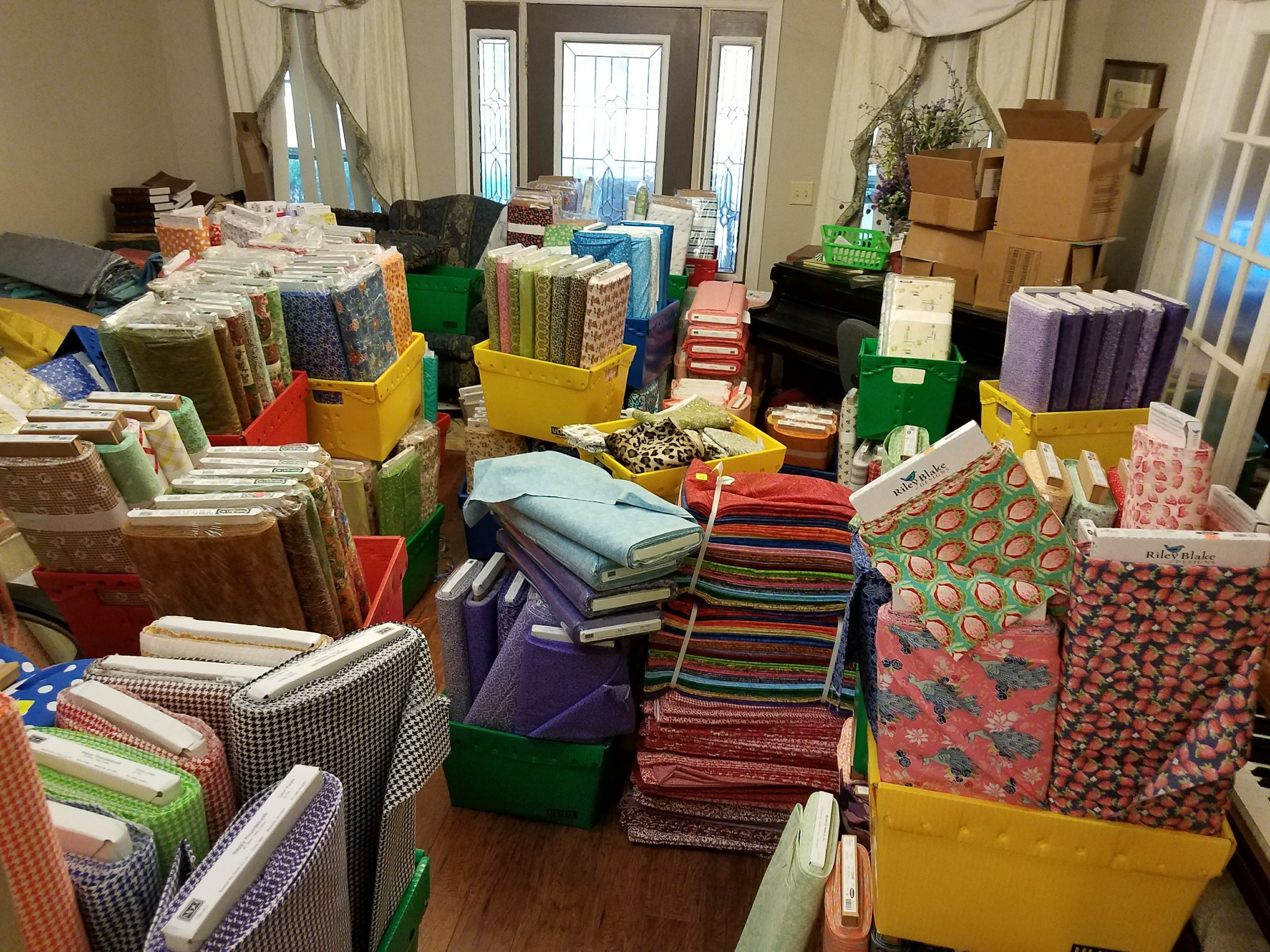 The house living room - has become a storage unit and holding spot.