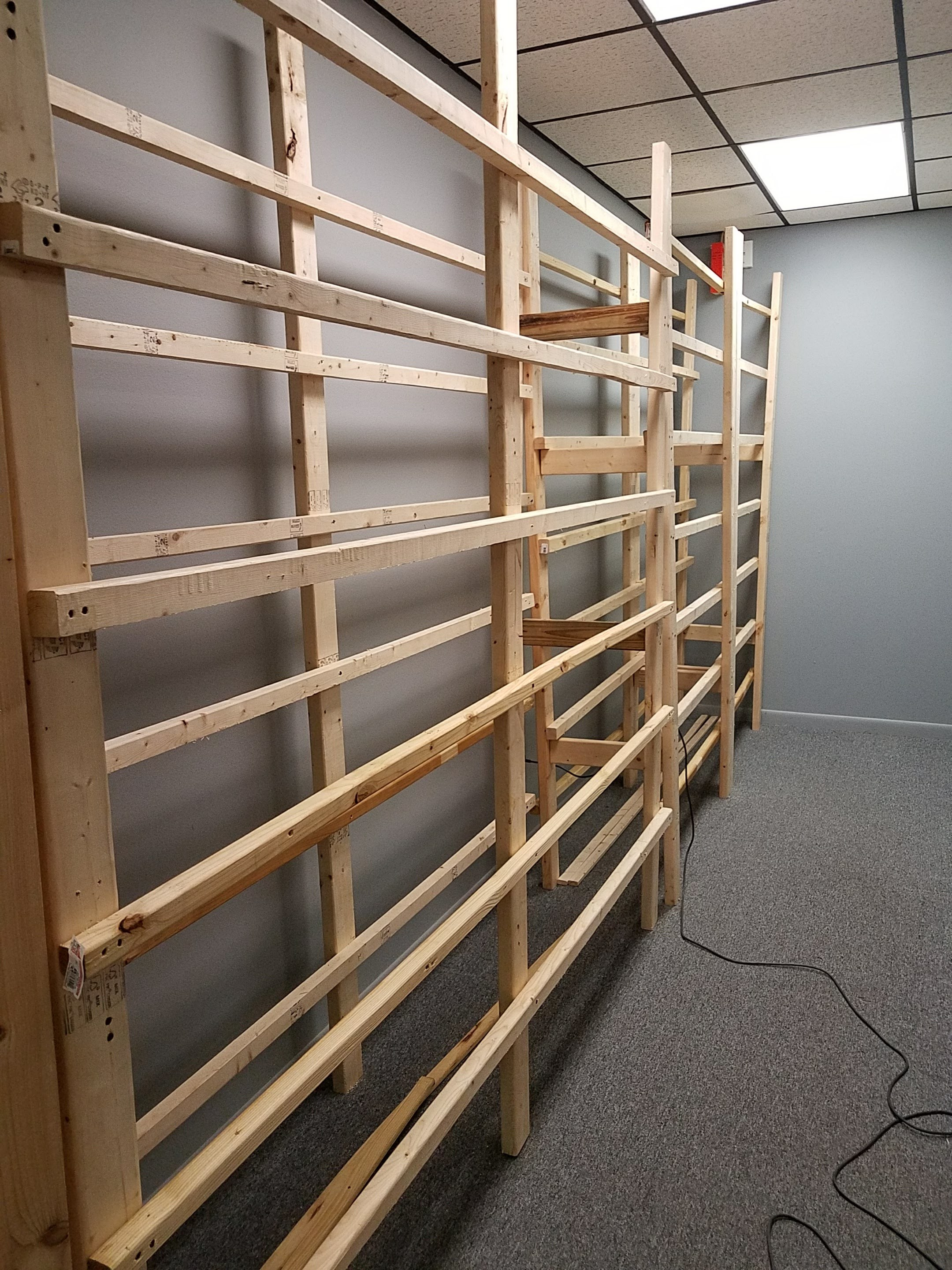 Finally, - they got the last 24 feet of shelving into place. It seemed like an eternity, but it was just an hour or so... but I was antsy.
