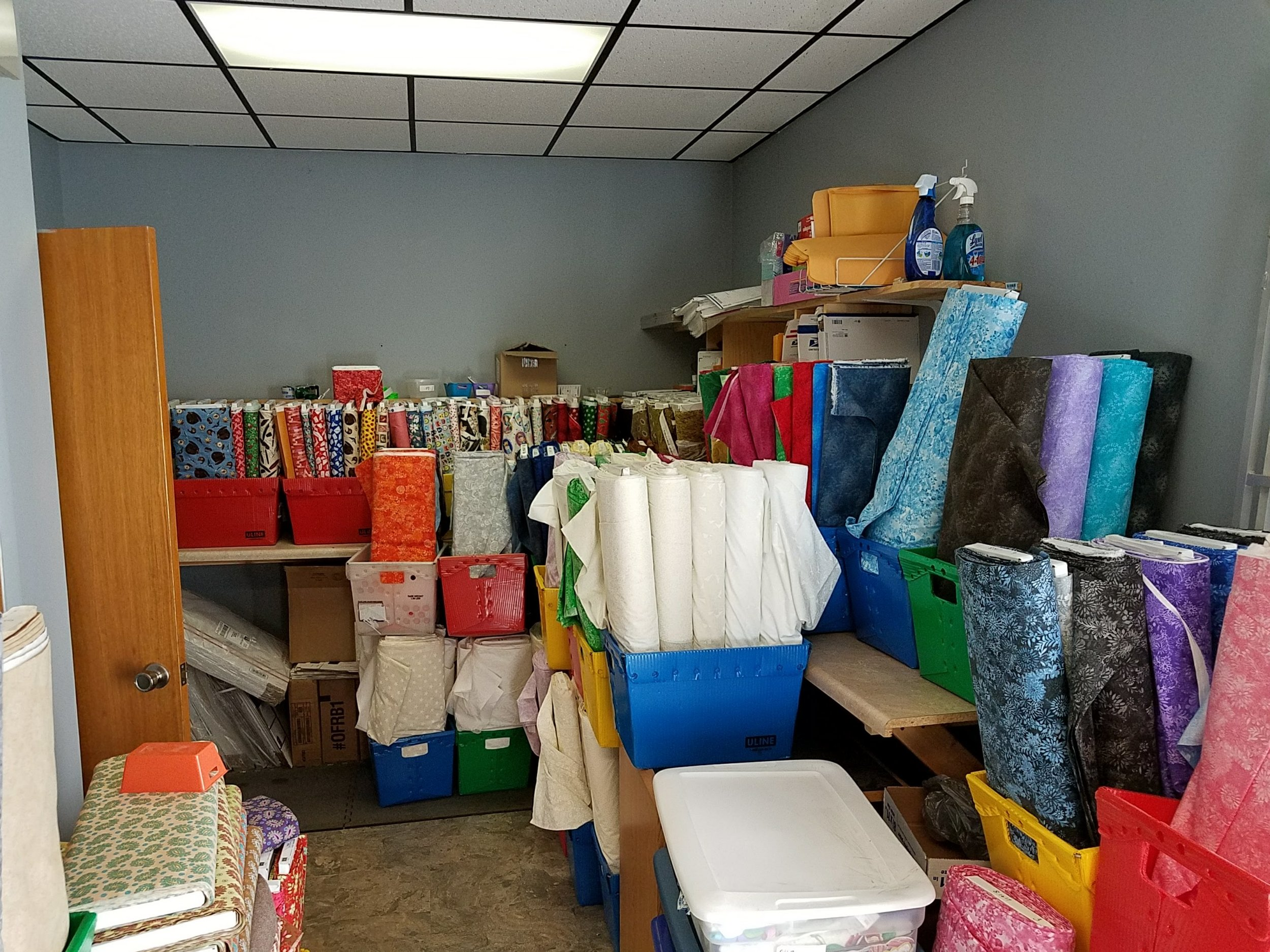 Backing Fabrics - took over the kitchen area of their new building while awaiting the emptying of their new home.