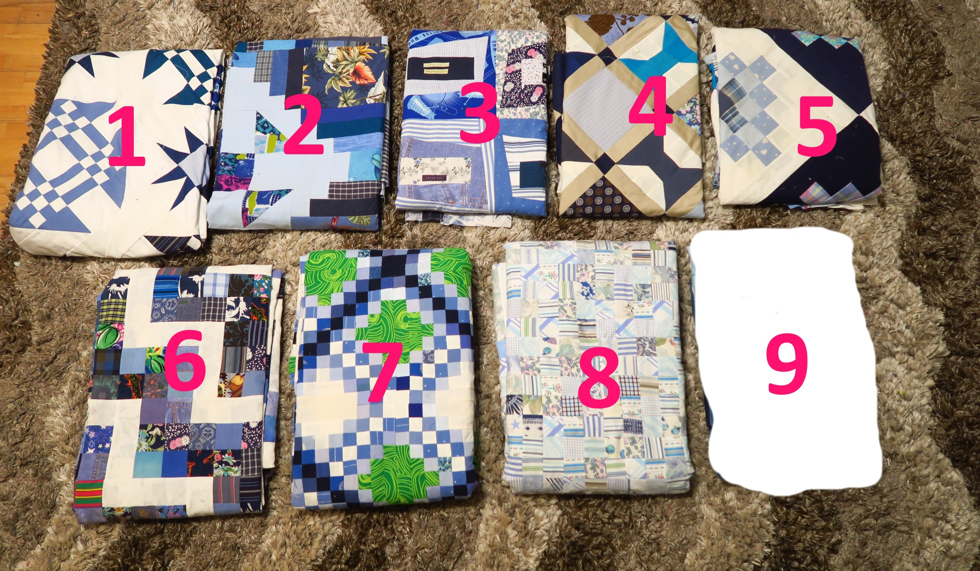 from upper left - 1.Starring Monkey Wrenches, 2. Periscope, 3. Premium Labels, 4. Peek a Boo, 5. Granny's Checkerboard, 6. Scrappy Rail Fence, 7. Triple Irish Delight, 8. Made Ya Look - at Blues, 9. not revealed yet. All of these are from all upcycled materials.  I'm working on getting the backings put together, also from all upcycled materials.