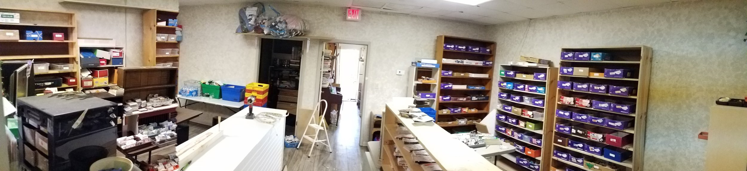 This was our former fabric store. It was transformed into the perfect coupon room within a matter of about 6 hours last Friday! (once we got the fabrics out!) In the meantime, two doors down, we were putting things in place and making huge strides in organization!