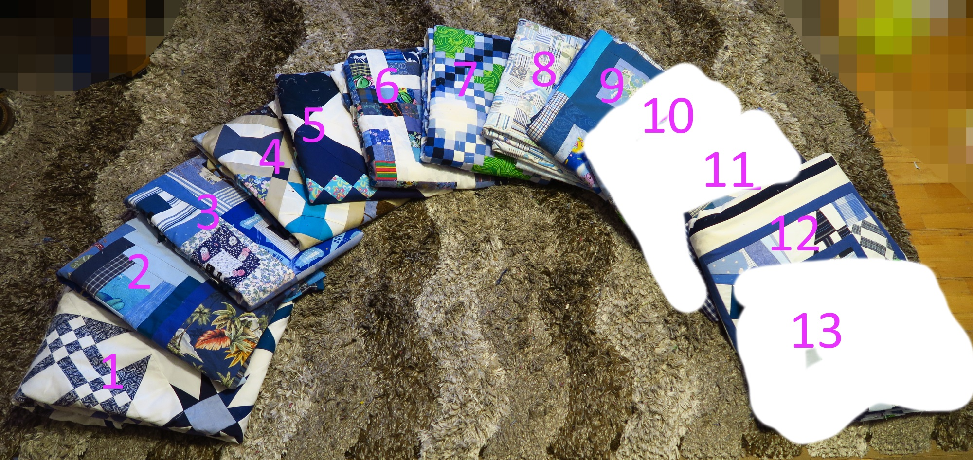From left: 1. Starring Monkey Wrenches, 2. Periscope, 3. Premium Labels, 4. Peek-A-Boo, 5. Granny's Checkerboard, 6. Scrappy Rail Fence, 7. Triple Irish Delight, 8. Make Ya Look - at Blues, 9. Frisky Boxes, 10. TBA (to be announced), 11. TBA, 12. All Crumbled Up, 13. TBA.