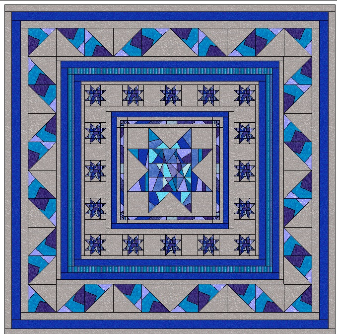 crumby star quilt project. A blue and gray quilt with teal and purple accents.