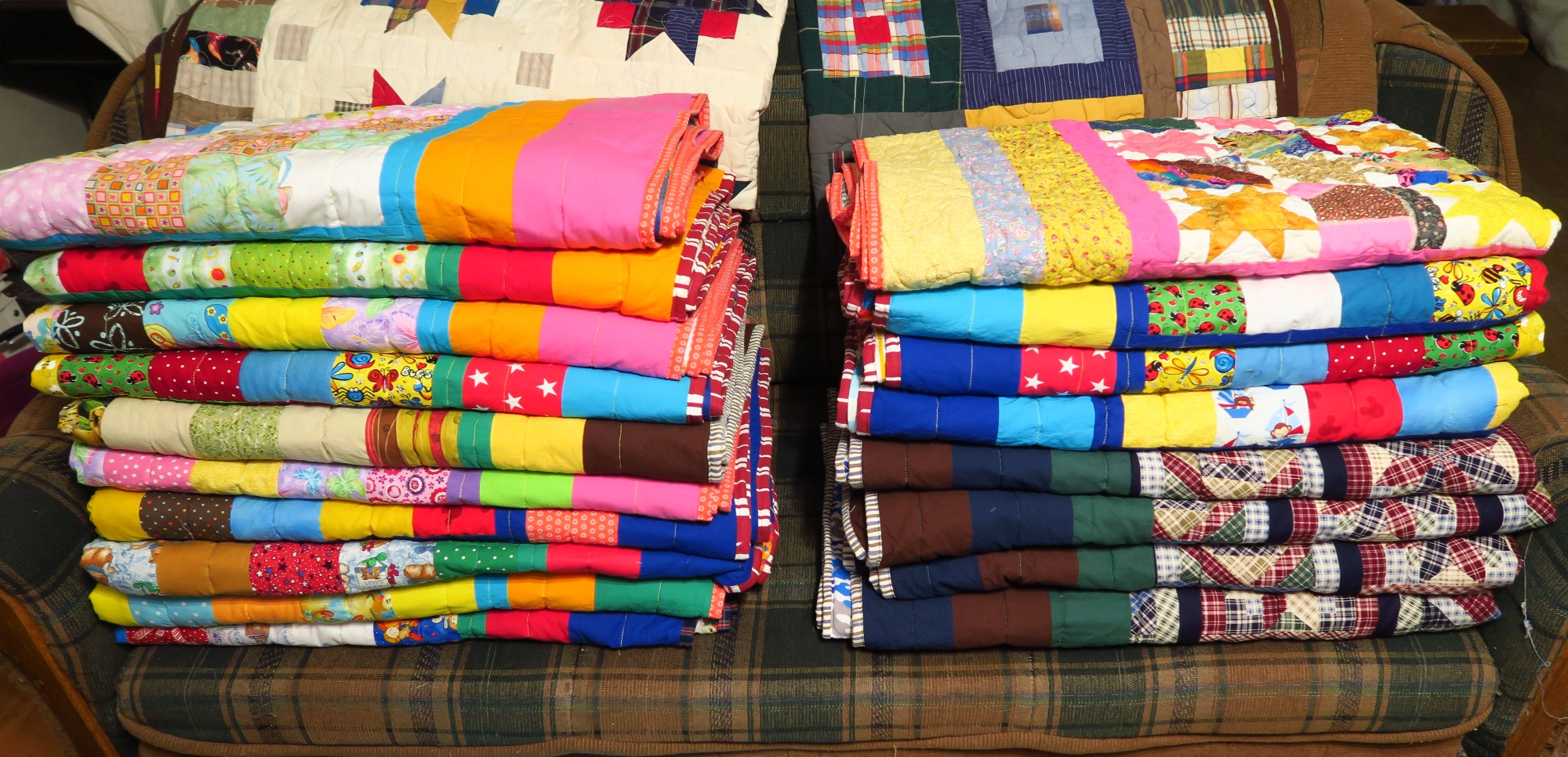 These are the quilts ready for pictures. They have been washed and let dry. Now I need above freezing weather so I can take them outside and get individual pictures.