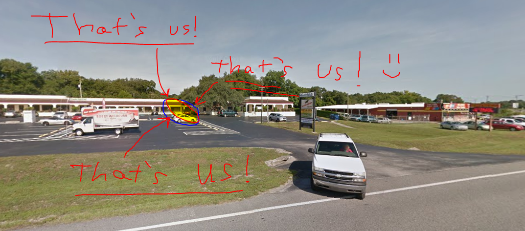 Picture of our location provided by Google Maps (with a little bit of modification)