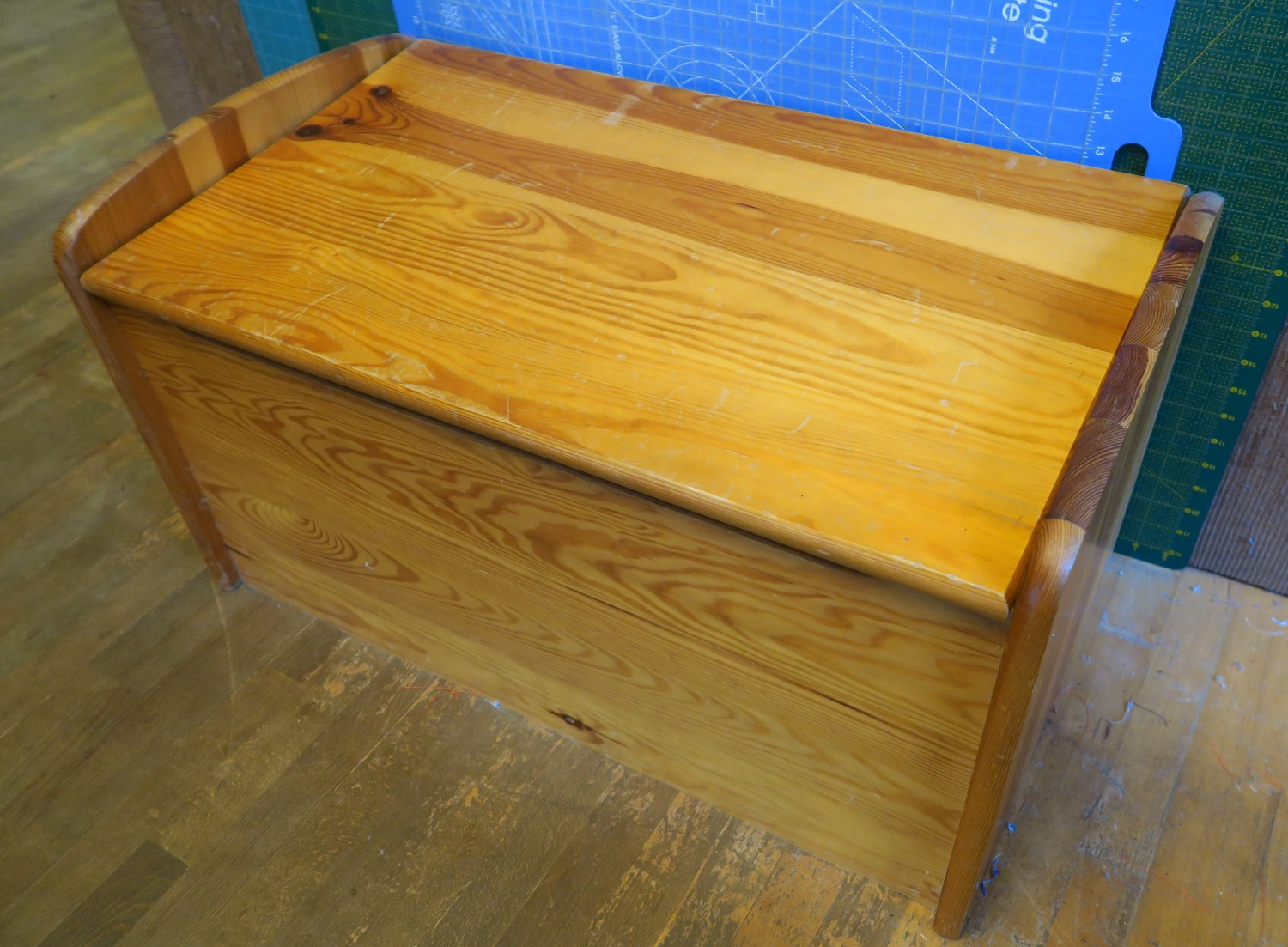 """This is the wooden chest that held the strips - I had it filled with """"stuff"""" that was then forgotten, or sort of forgotten about. I have since cleaned it out and put other stuff in there!"""