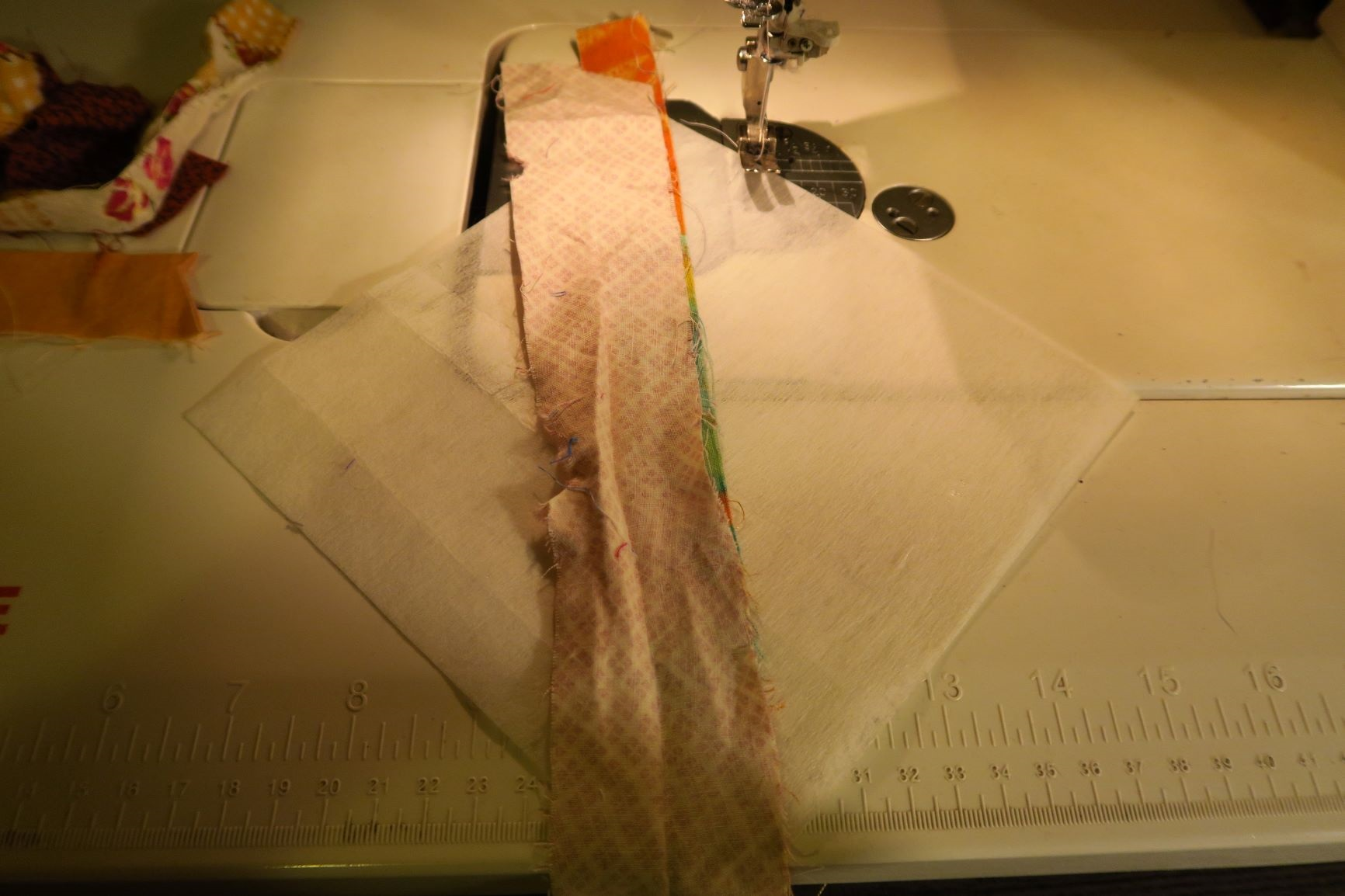 Place a second strong right sides together on top of the first one. Stitch along ride side.