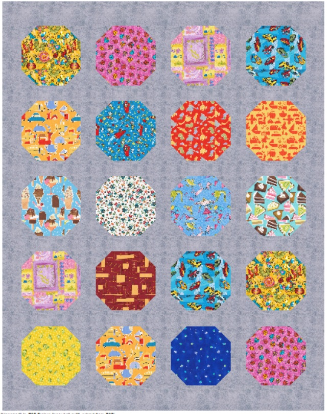 If you want to order the novelty pack, AND the other fabric, simply choose 2.5 yards of a solid or blender like gray, red, blue, back, turquoise, etc. for each of the small ones you make. You can make one with reds and one with pinks! The packs have 42 squares and each of these small ones only uses 20 of them.