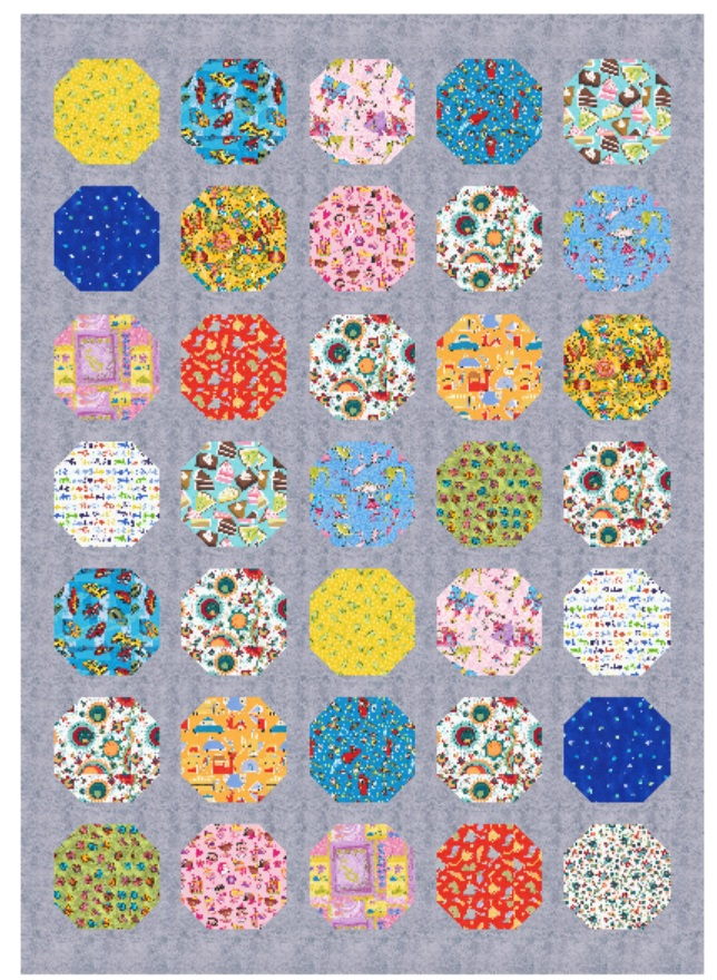For each of these twin size quilts you plan on making, you will need 3.5 yards of a solid or blender such as the gray shown.