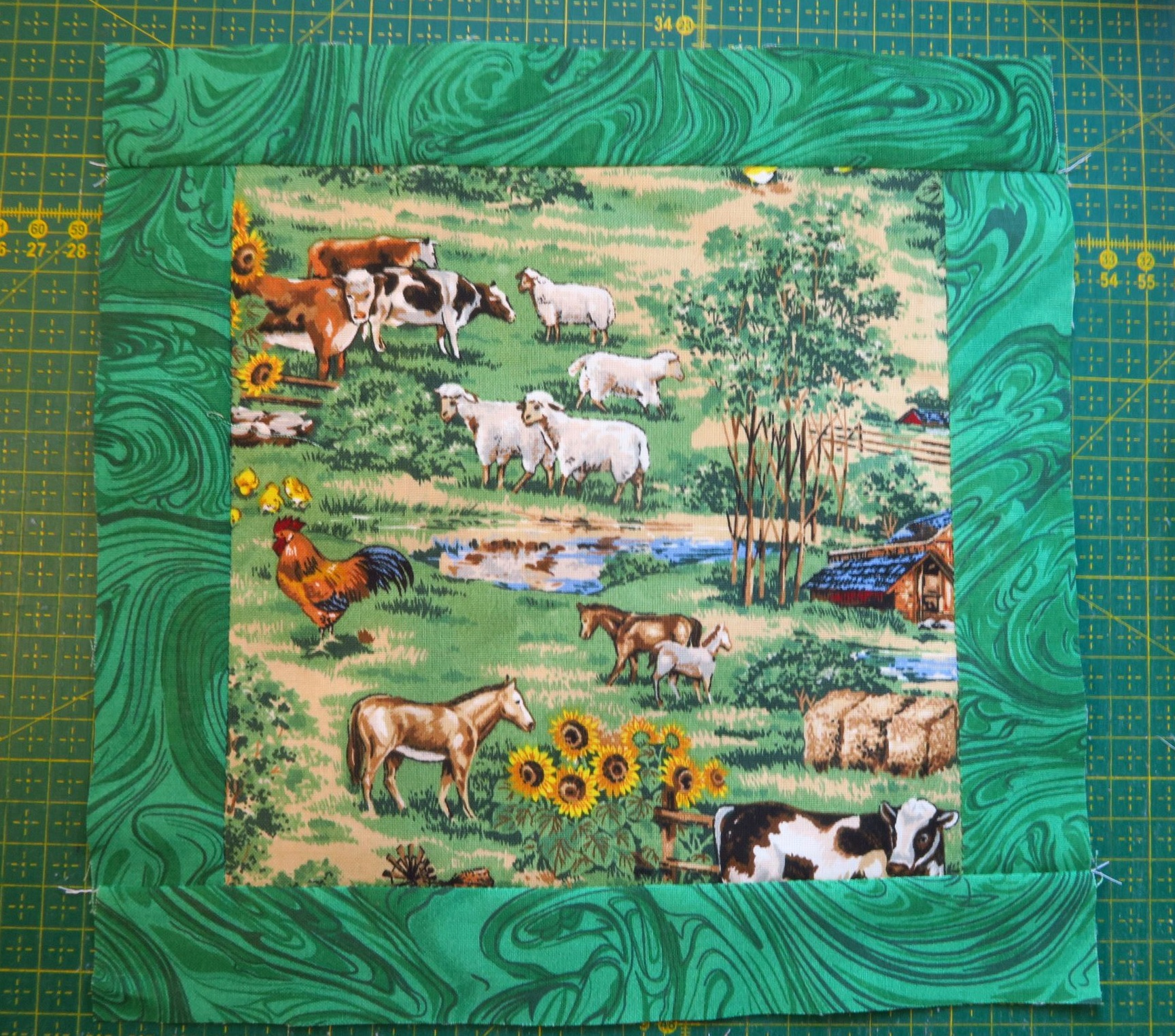 This fabric I had in my own collection here in Poland. It was the perfect addition to the country supplies/farm goods I found in Florida.