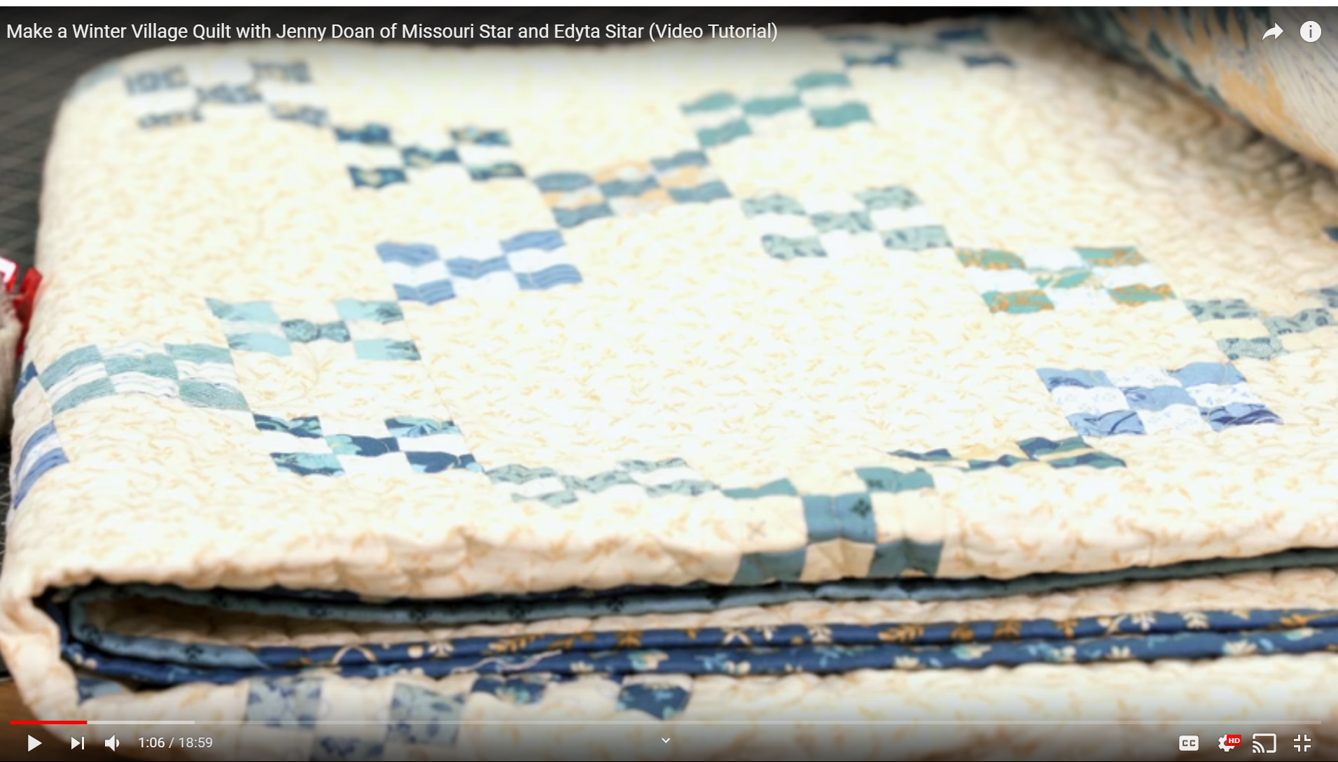 """A close up of that quilt that Edyta is pointing to. It's obviously """"not"""" on point. This is a screen shot taken from about 1:06 into the video found at the link the to the right."""