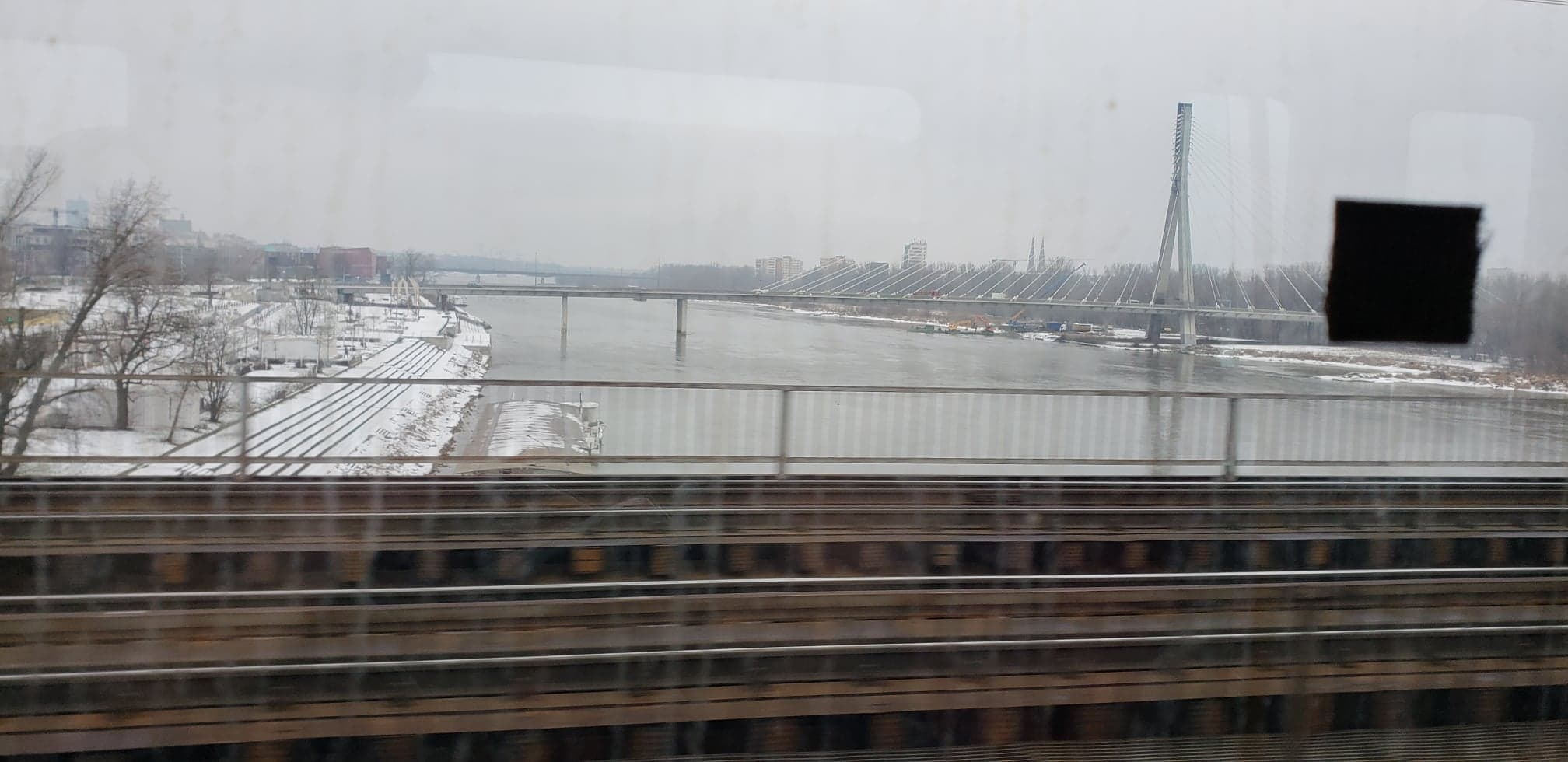 Our nice, gray winter day! The Vistula River.