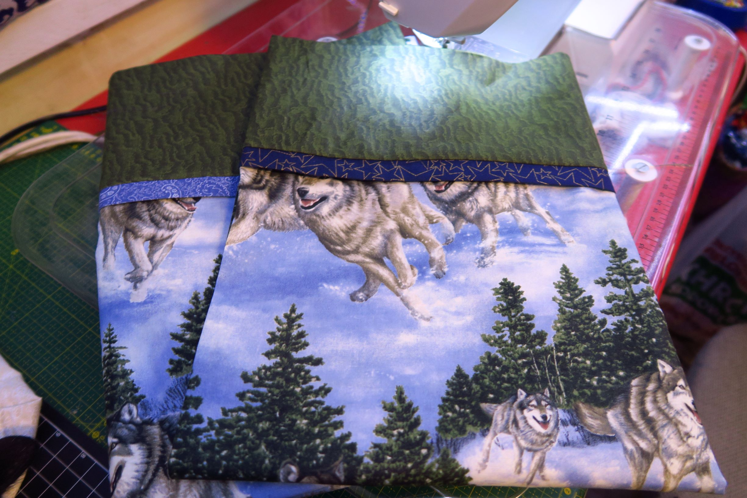 The pillowcases. I used the wolf fabric because I have so much of it!