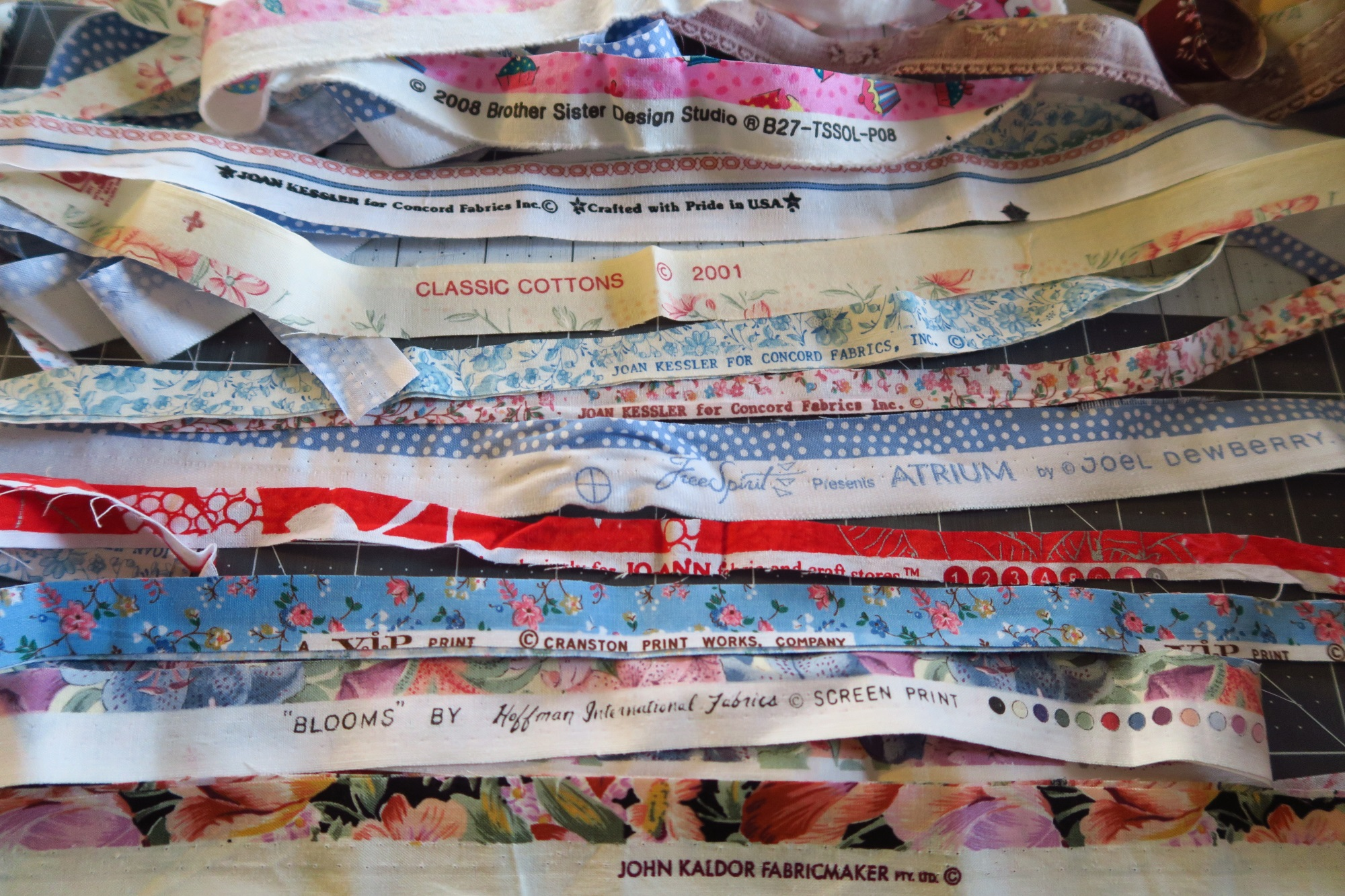 Some of the various selvages from the fabrics I have used lately.
