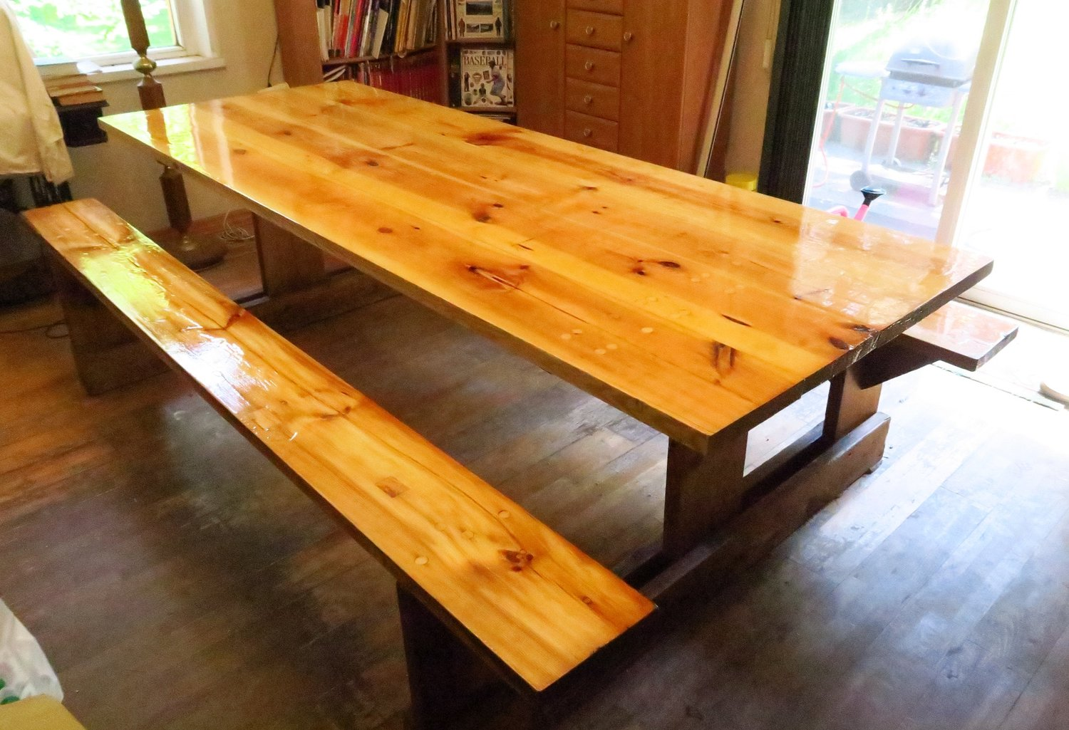 I've shared about the table before. We use it for eating, playing games, used it for homework when the kids were home, and various other things. It's an 8' table. My son redid it during 2018 to make it this beautiful!