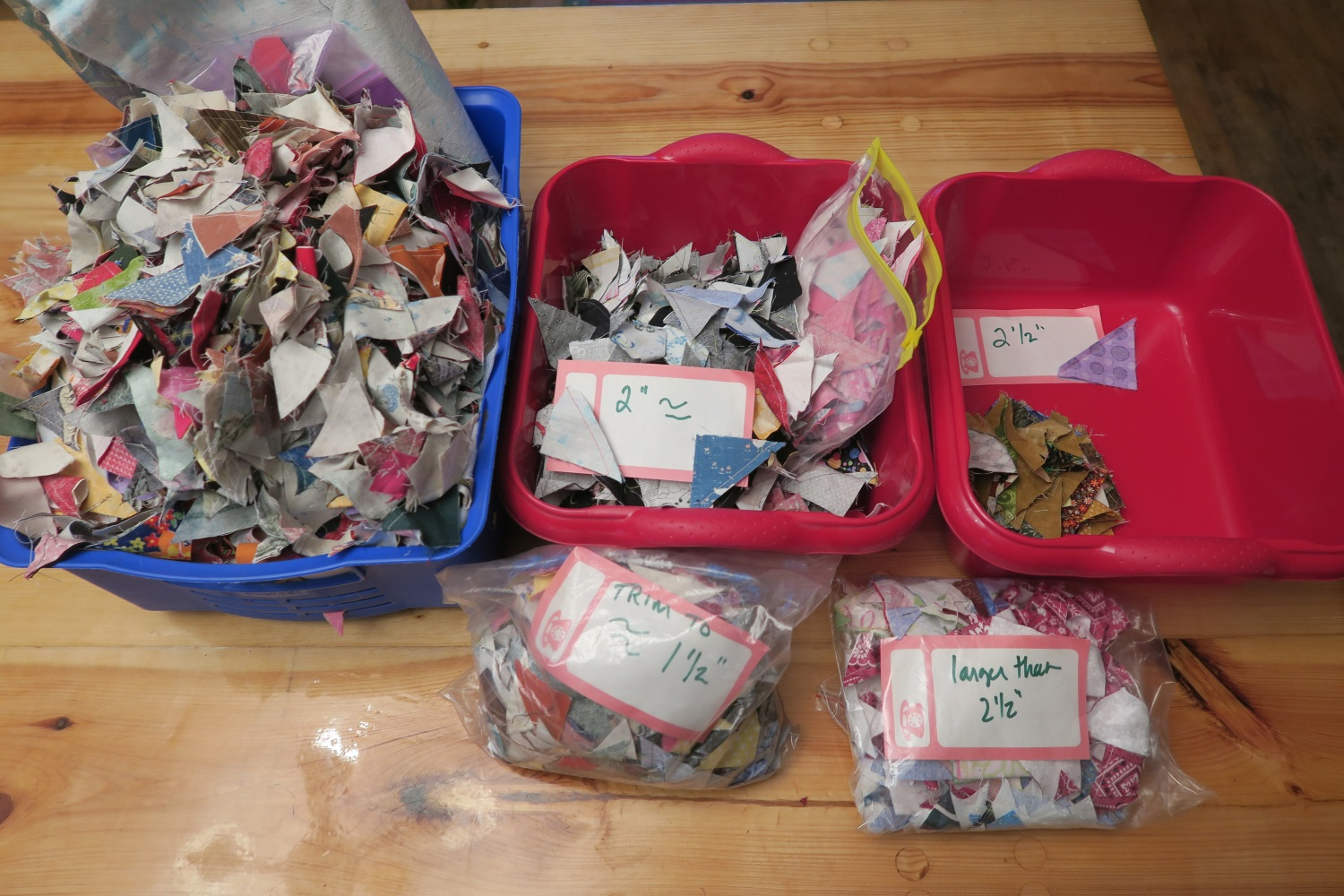 While not ALL of my half square triangles that I located in my sewing room, this is the majority of them. I didn't have them all sorted when I took this picture. I did find more when I cleaned out my sewing room a couple of weeks ago.
