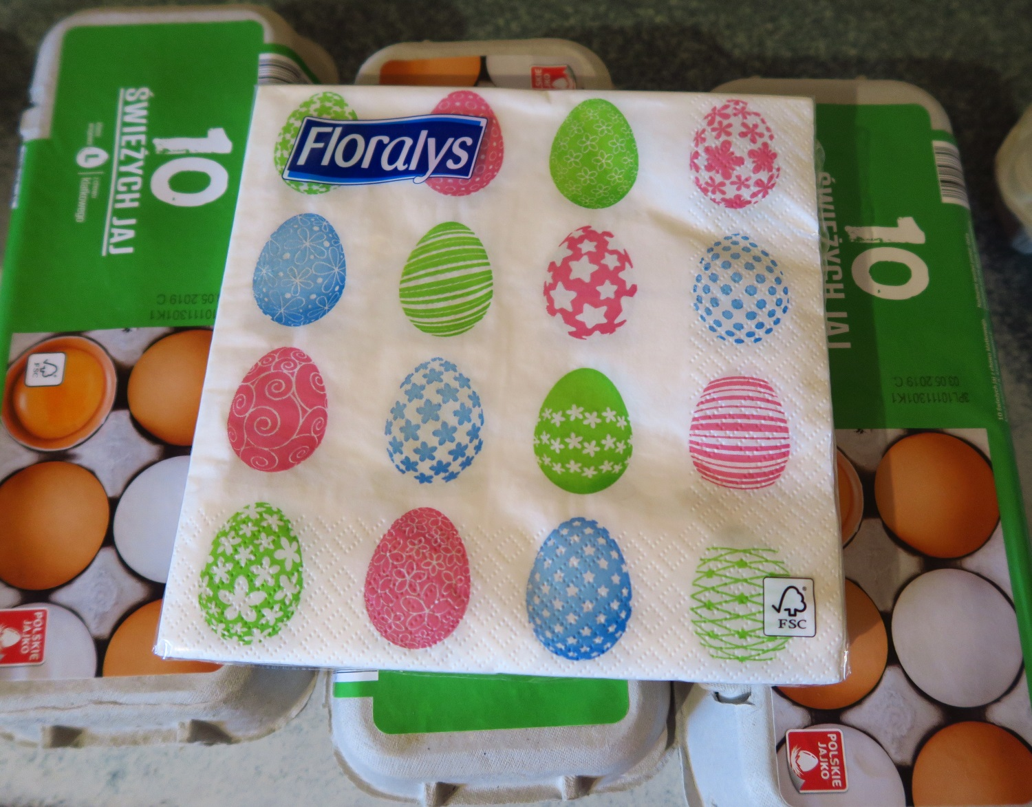 I picked up a package of Easter egg napkins as well when I was in the store.