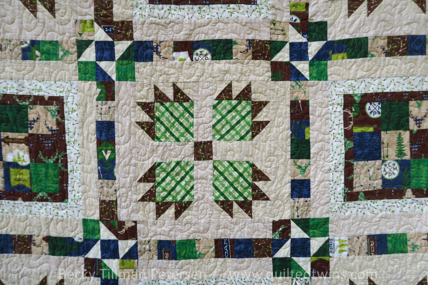 """My first ever """"Bear Paw"""" blocks. Yes…surely not my last! I like them. Because they were going to be my first, however, I went big, instead of small! I'm glad I did. I think they make the statement I was looking for with this design/pack."""