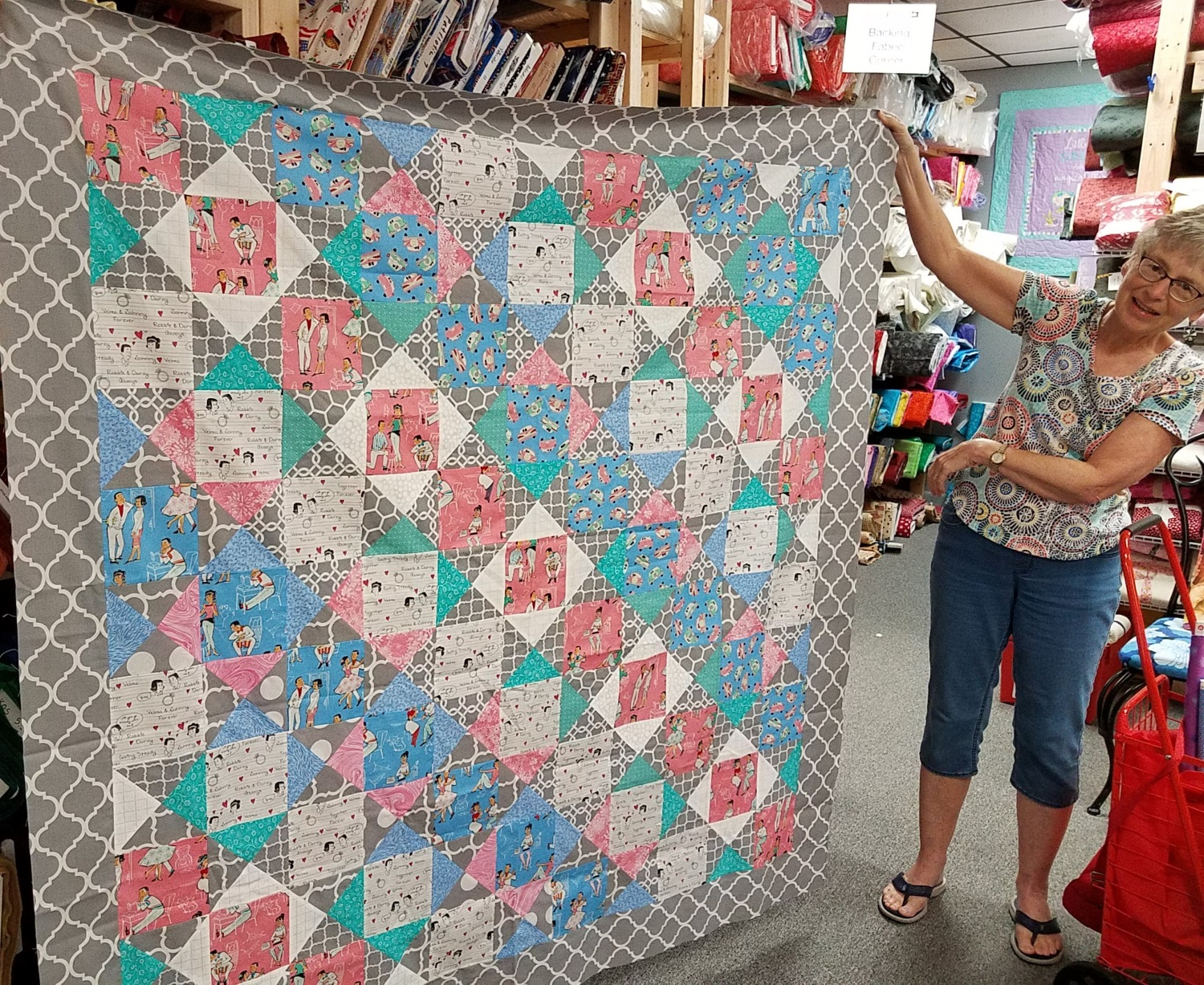 Jen Wilcox made this fun quilt out of our Going Steady pack!