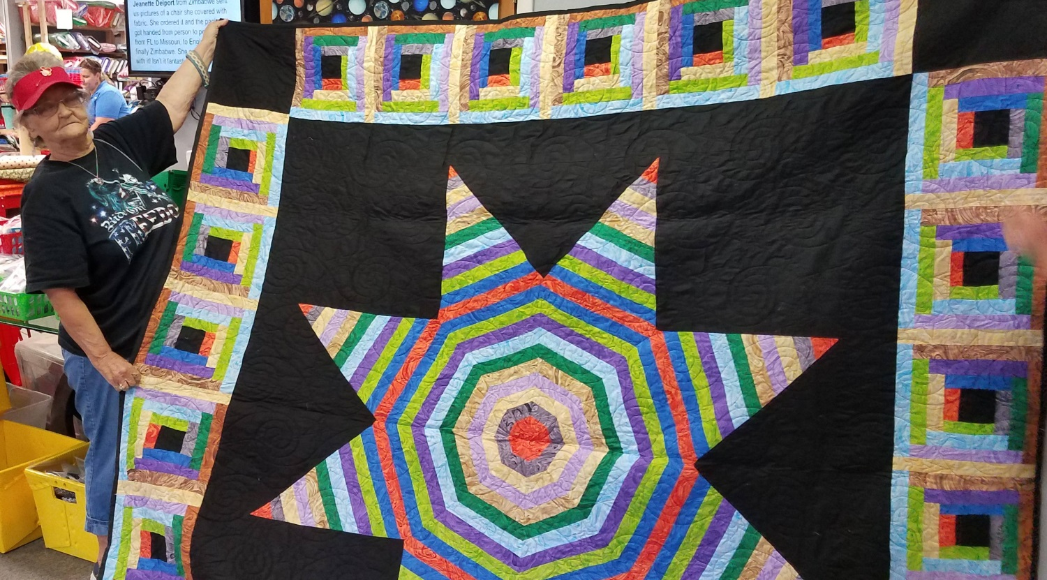 Beryl Nutt, of Z'hills, made this Swirling Marbling pack into a stunning Star quilt!