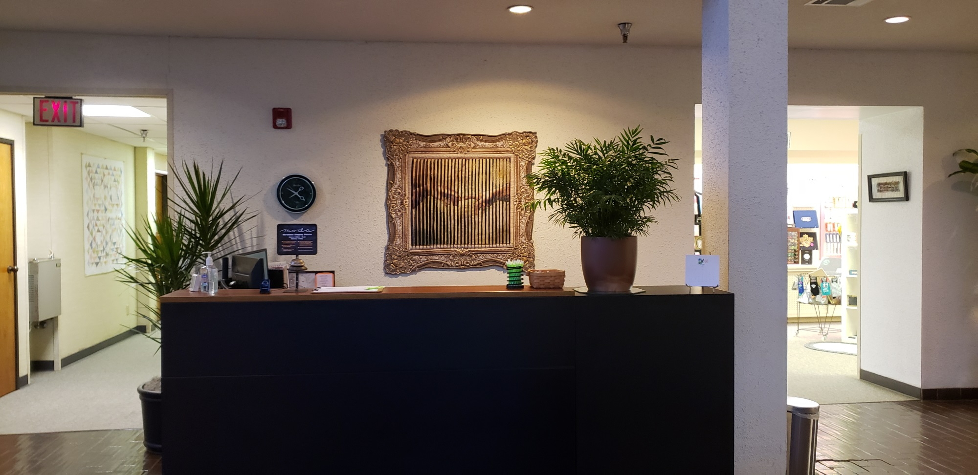 This was the lobby area and the receptionist's desk. When we first got there, no one was there!