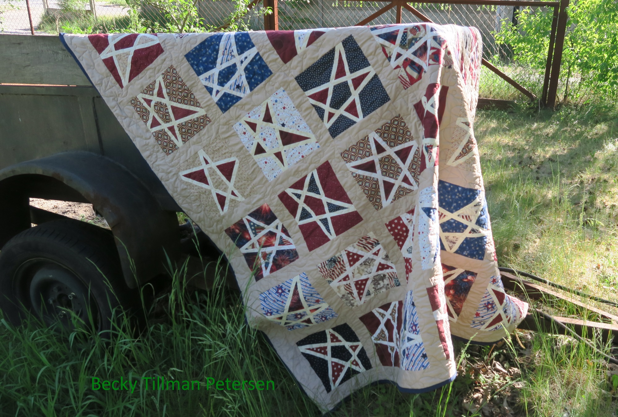 I made it after watching a You Tube video on how to make these stars. Maybe someday I'll make another one since I still have more Americana fabric. I kept this one.