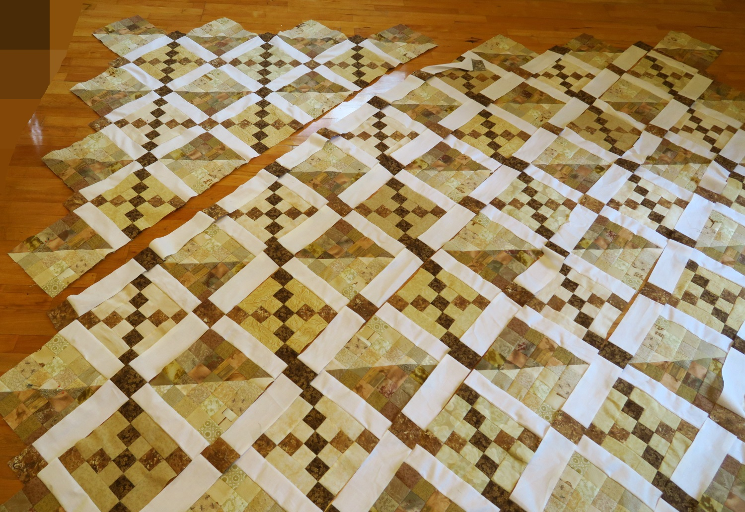 The first few rows are sewn together