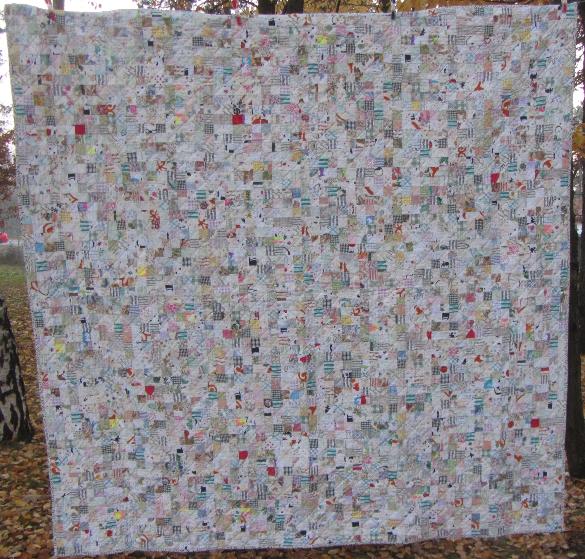 """Made Ya Look - My first quilt using primarily """"low volume"""" fabrics"""