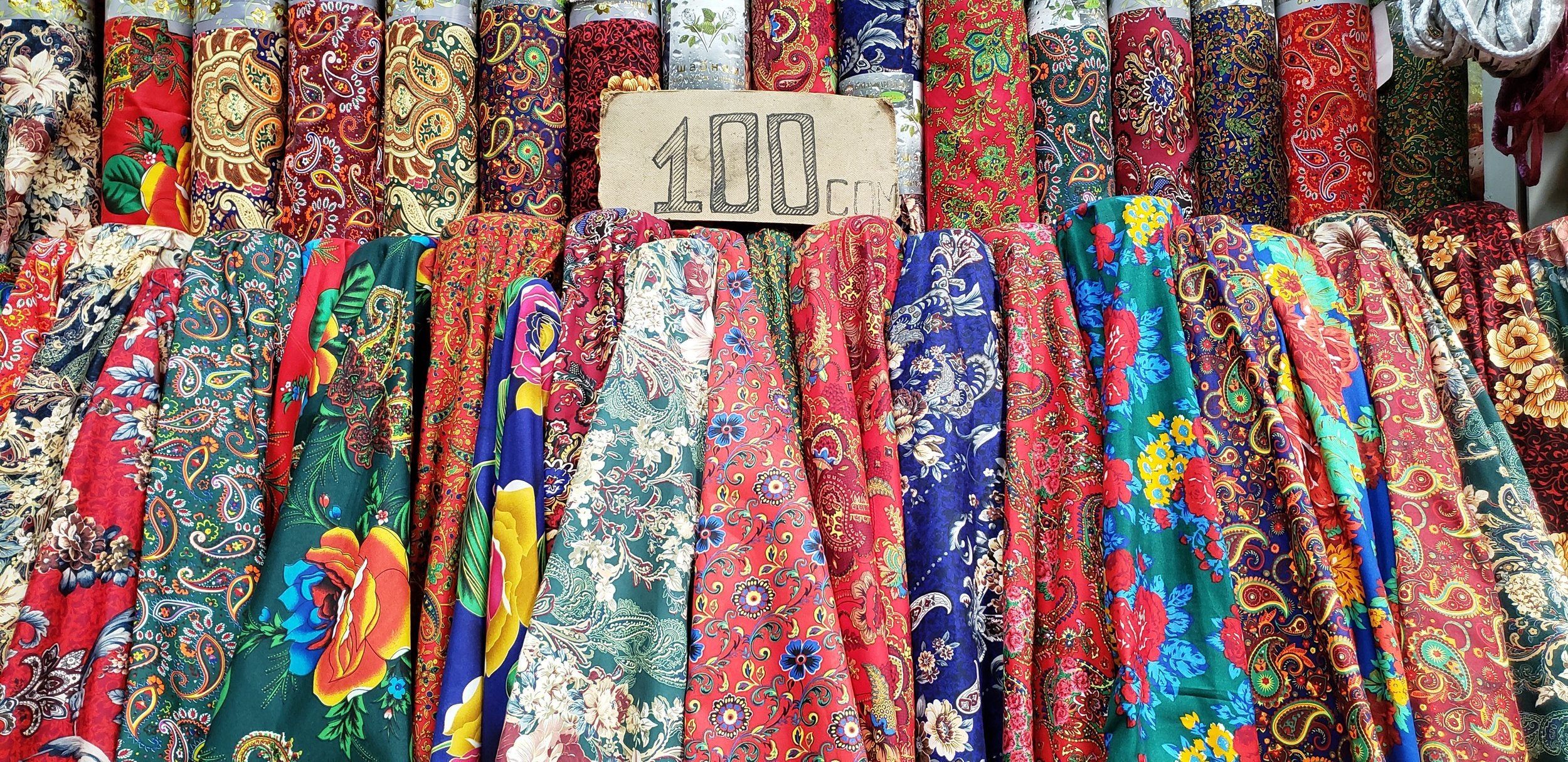 Some fabrics at the local textile bazaar.