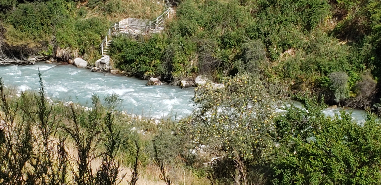 The mountains by the capital city of Bishkek - a pretty river.