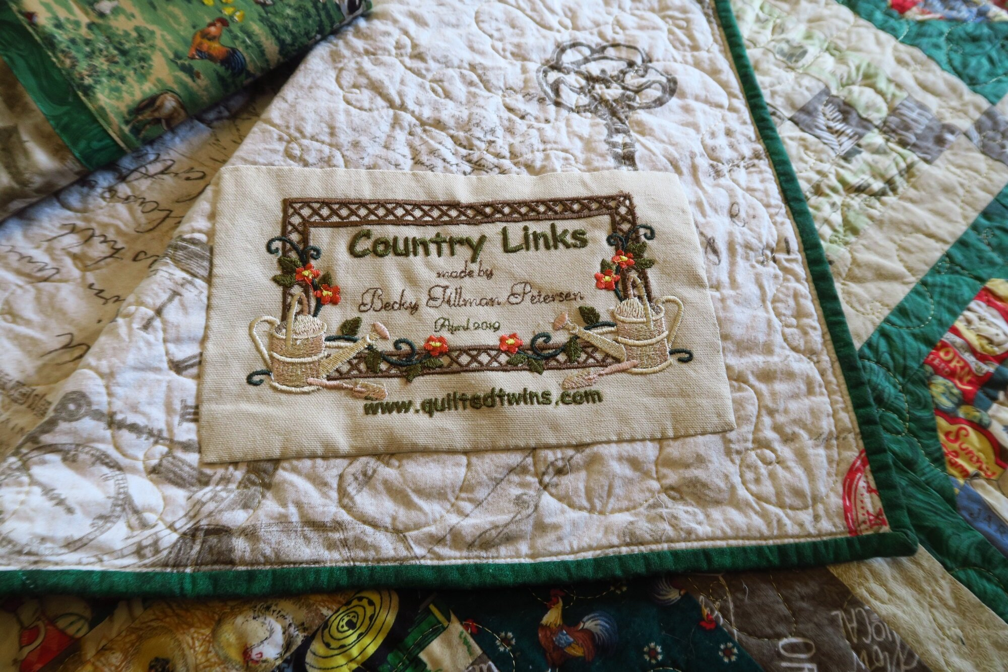 I did put a label on it - I used my embroidery machine to make it after designing it with Embird - a basic embroidery program.