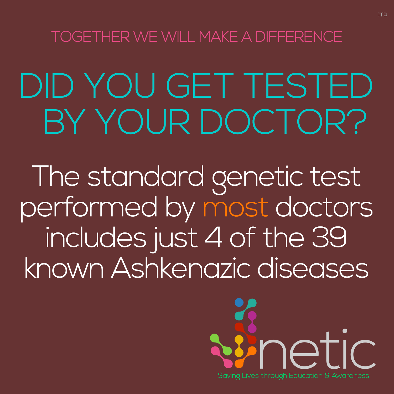 Genetic Fact - Standard genetic test includes 4 of 39 Ashkenazic diseases