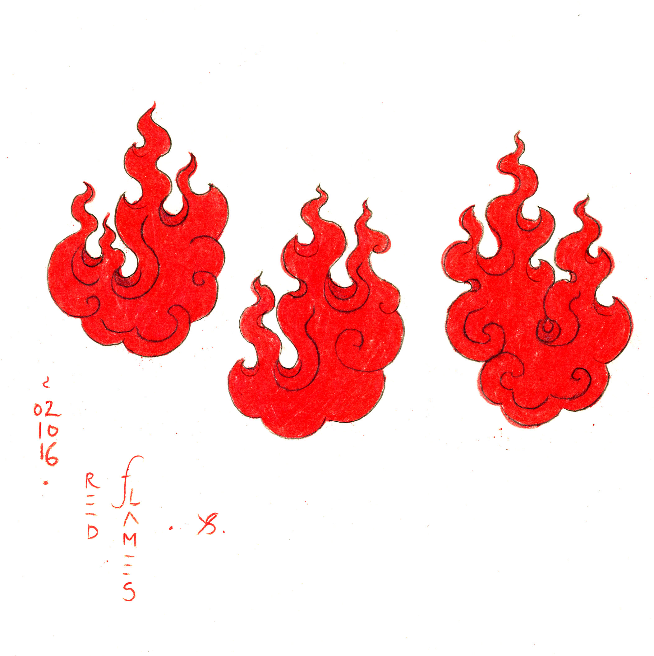red flames - pencil drawing