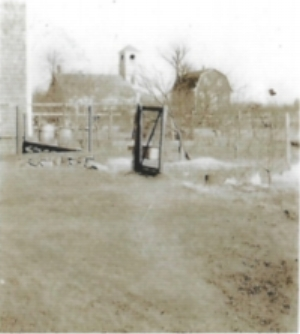 The South Main Street School pictured on the left in its old location in Greenbush (Fitts Mill on the right). Date unknown.