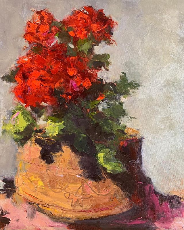 Back in the studio at last!!! Riding high after an amazing group event yesterday!!! I'm extremely blessed to know so many soulful, radiant women!  Inspiration for this painting came from a photo I took in Mexico almost a year ago. 16x20 #geraniums #sanmigueldeallende #westportct #westportartist #gettingbackinthegroove #timeforabeer