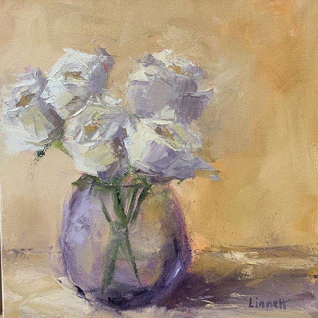 """Serenity"" 16x16 Birthday roses immortalized! 50 forever... Thanks Agata!! 💕✨ #oilpainting #artforsale #roses #fineart #flowerpainting #floral #beautiful #westportartist #spiritualartist #surrender"