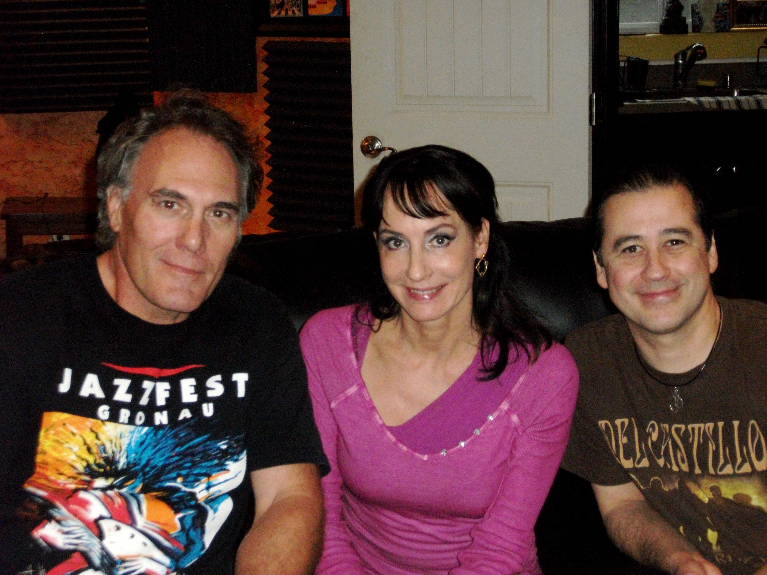 (LtoR Co-Producer Preston Sullivan, Co-Producer- Recording Artist Anna Maria Kaufmann and Co-Producer Rick del Castillo in Kyle, TX Smilin' Castle Recording Studios.JPG