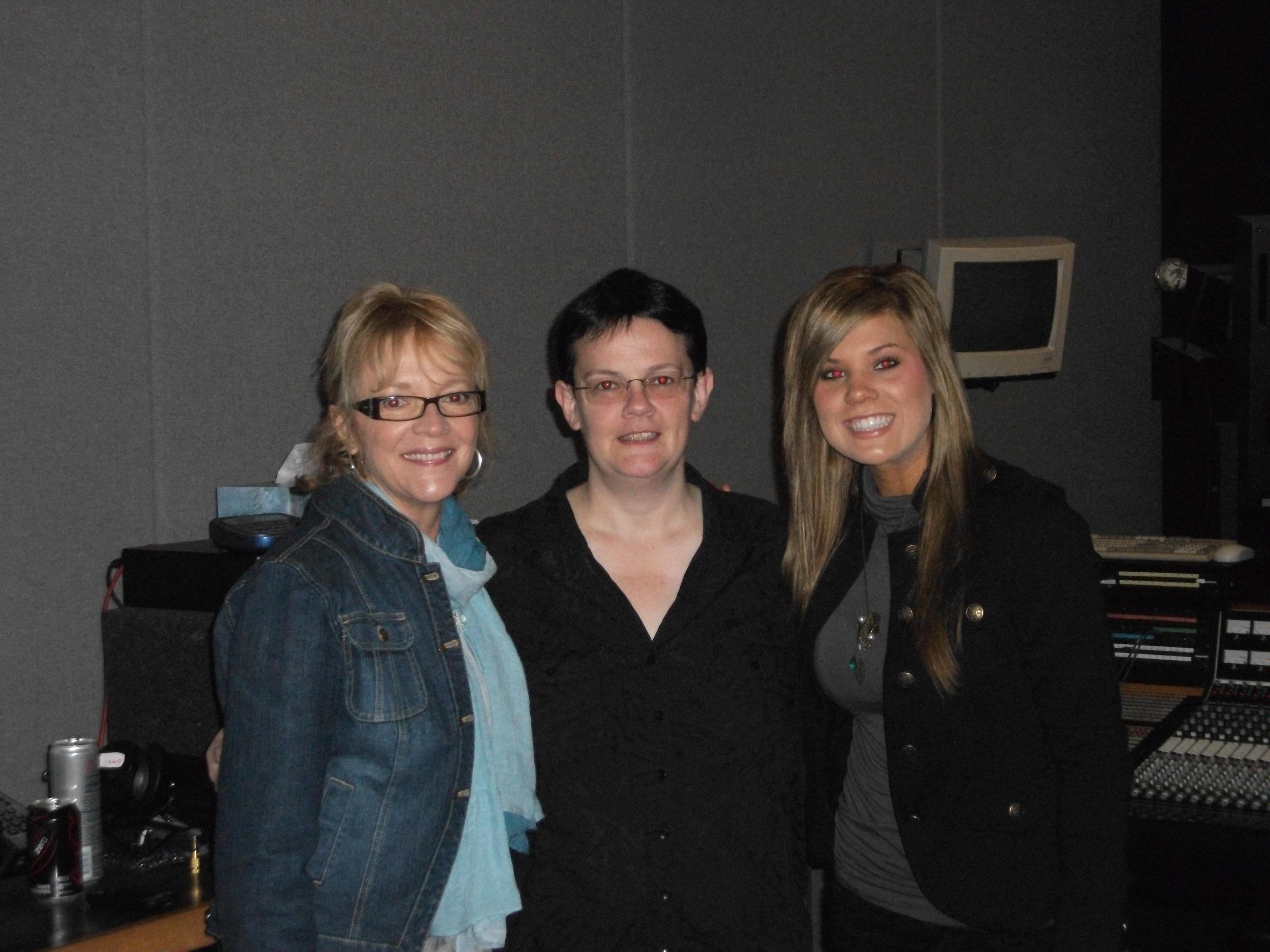 Ramona E. Simmons, Claudia Becker, and recording Artist Hope Nix at Omni Sound Studios, Nashville 2011.JPG