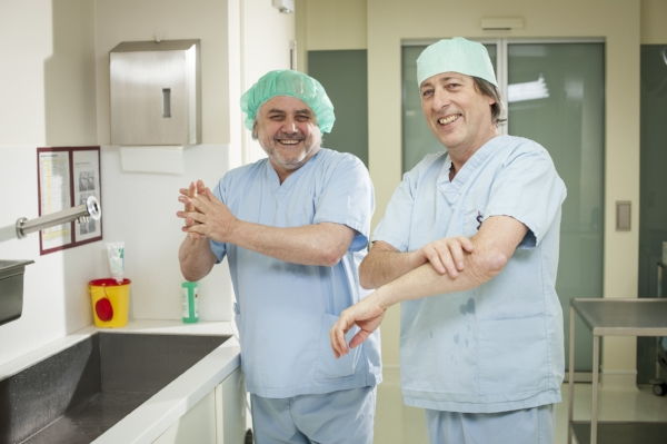 Dr Villnow (right) with a colleague.