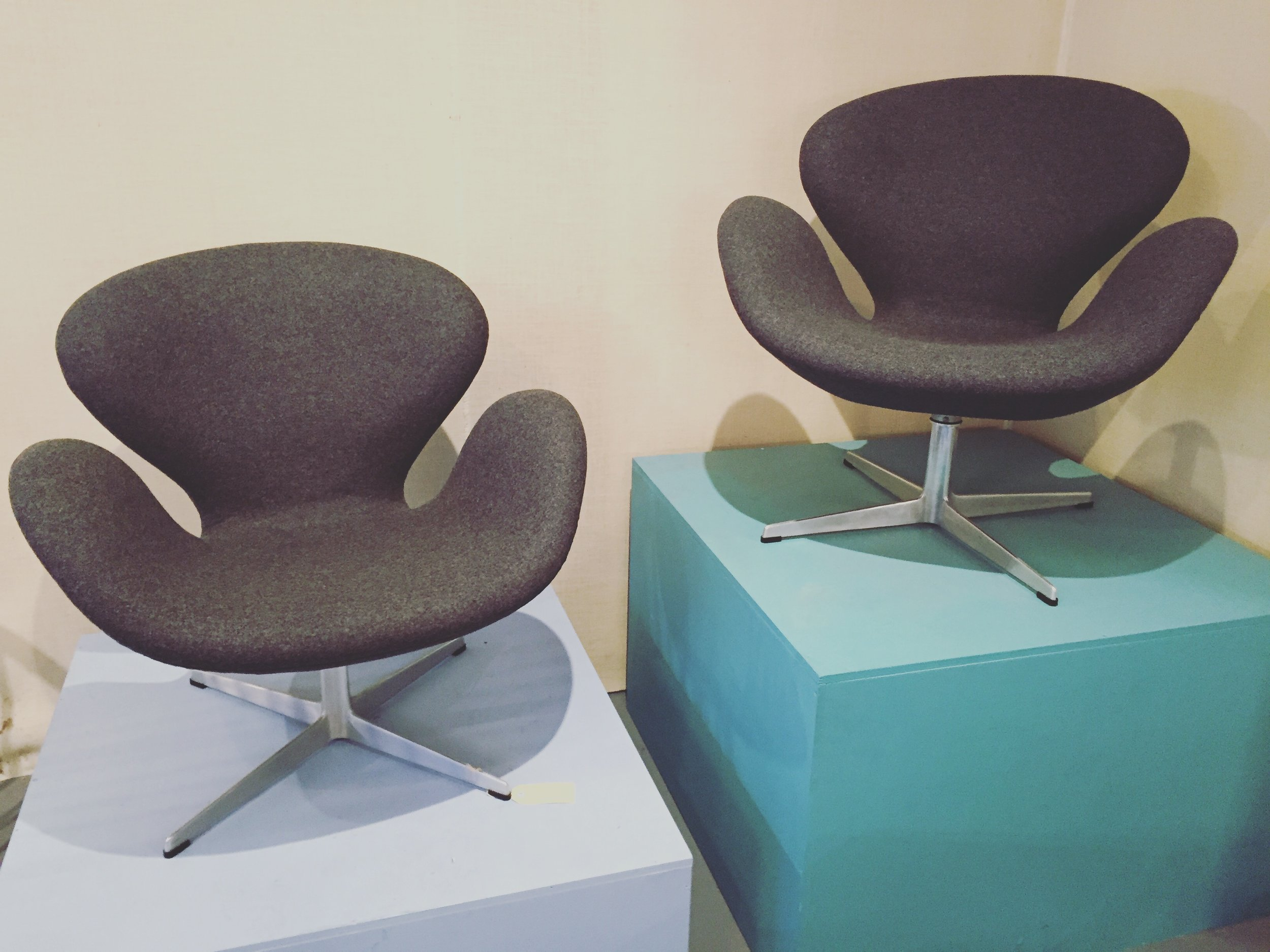 SOLD - PAIR OF SWAN CHAIRS BY JACOBSEN