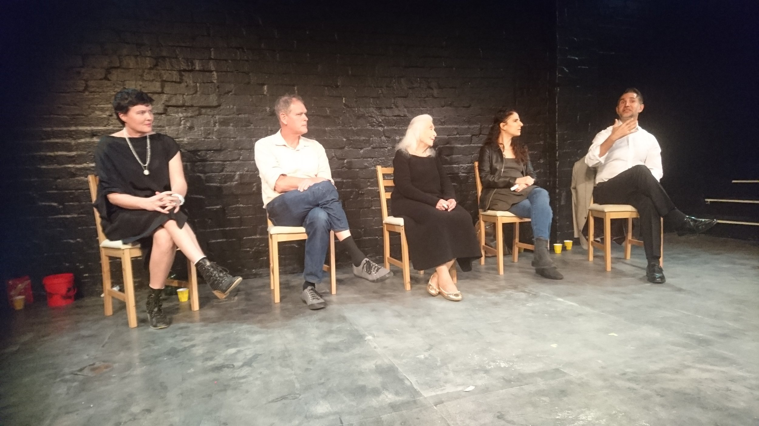Jackie Dent, Martin Samson, Eileen Kramer and Talia Morag listening to Terry Samaras.
