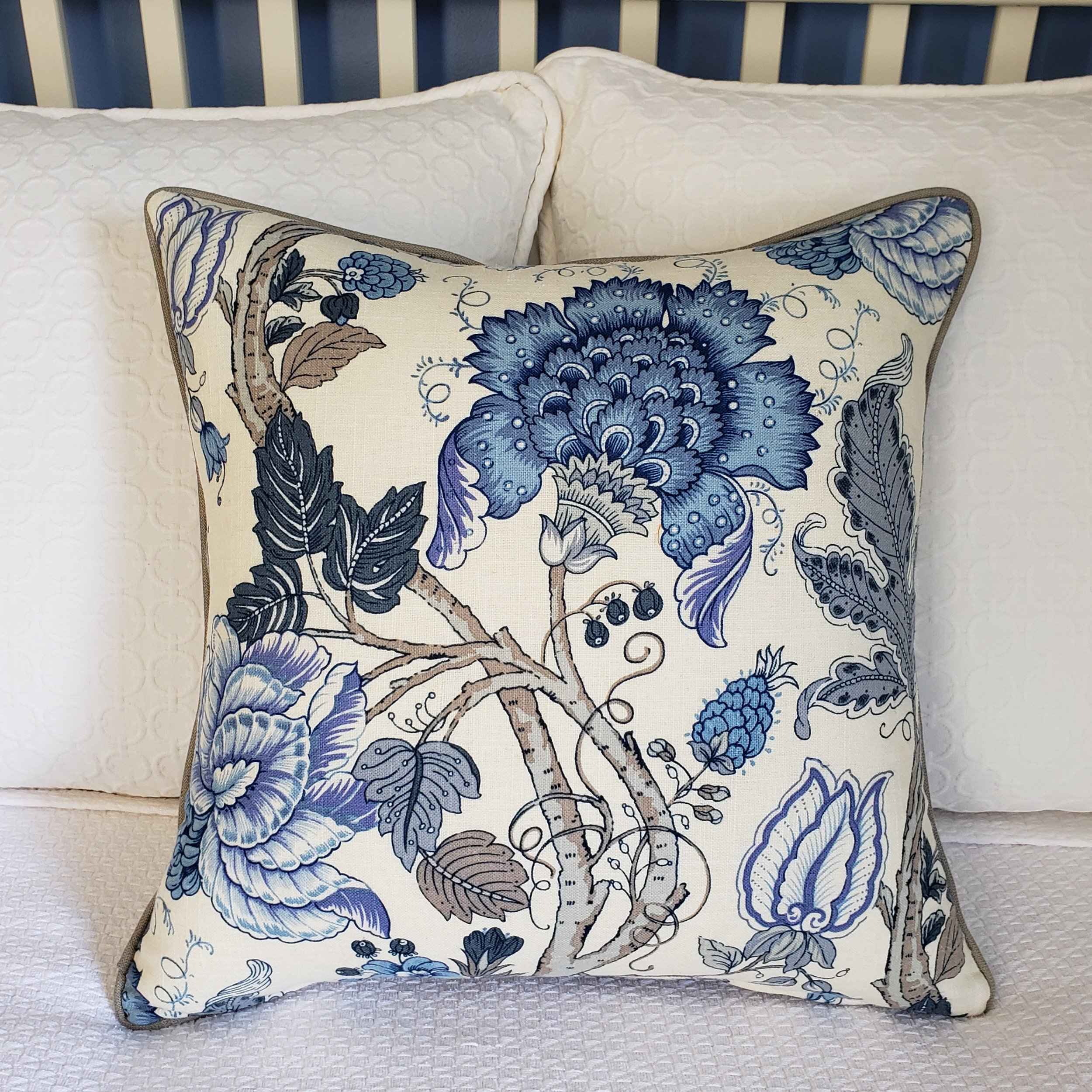 Coastal Style Hamptons Style Jacobean Pillow Floral Pillow Blue Floral Pillow Linen Pillow Chinoiserie Pillow French Country $70