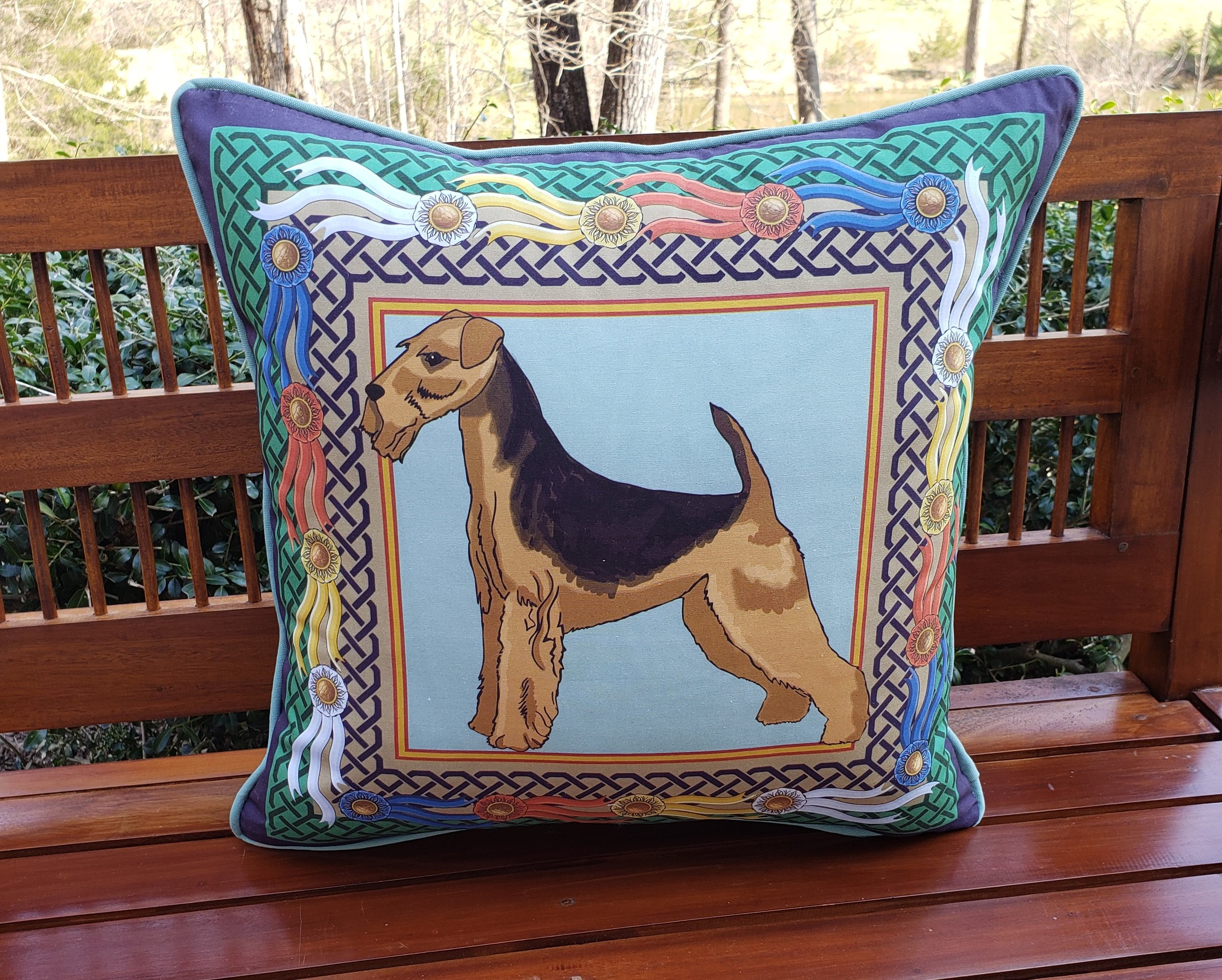 Airedale Terrier Throw Pillow Custom Design $65