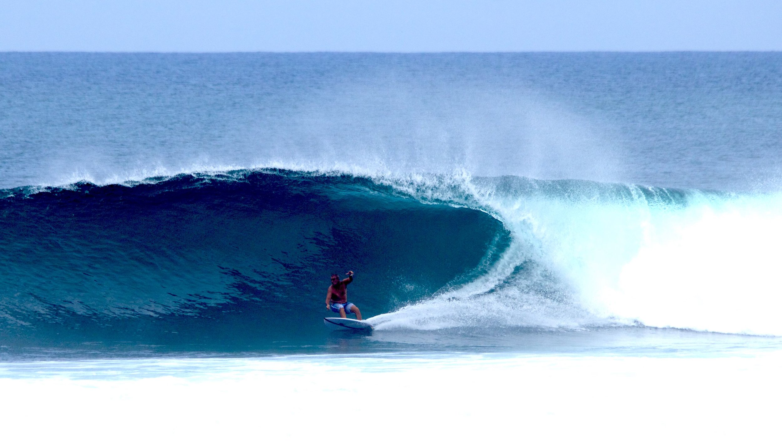 Marechal about to enjoy the fruits of a good bottom turn at Periscopes. Photo: courtesy of Rex Marechal
